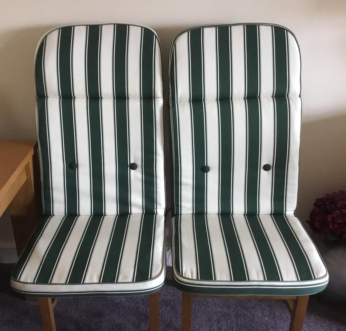 Two Green White Garden Chair Cushions