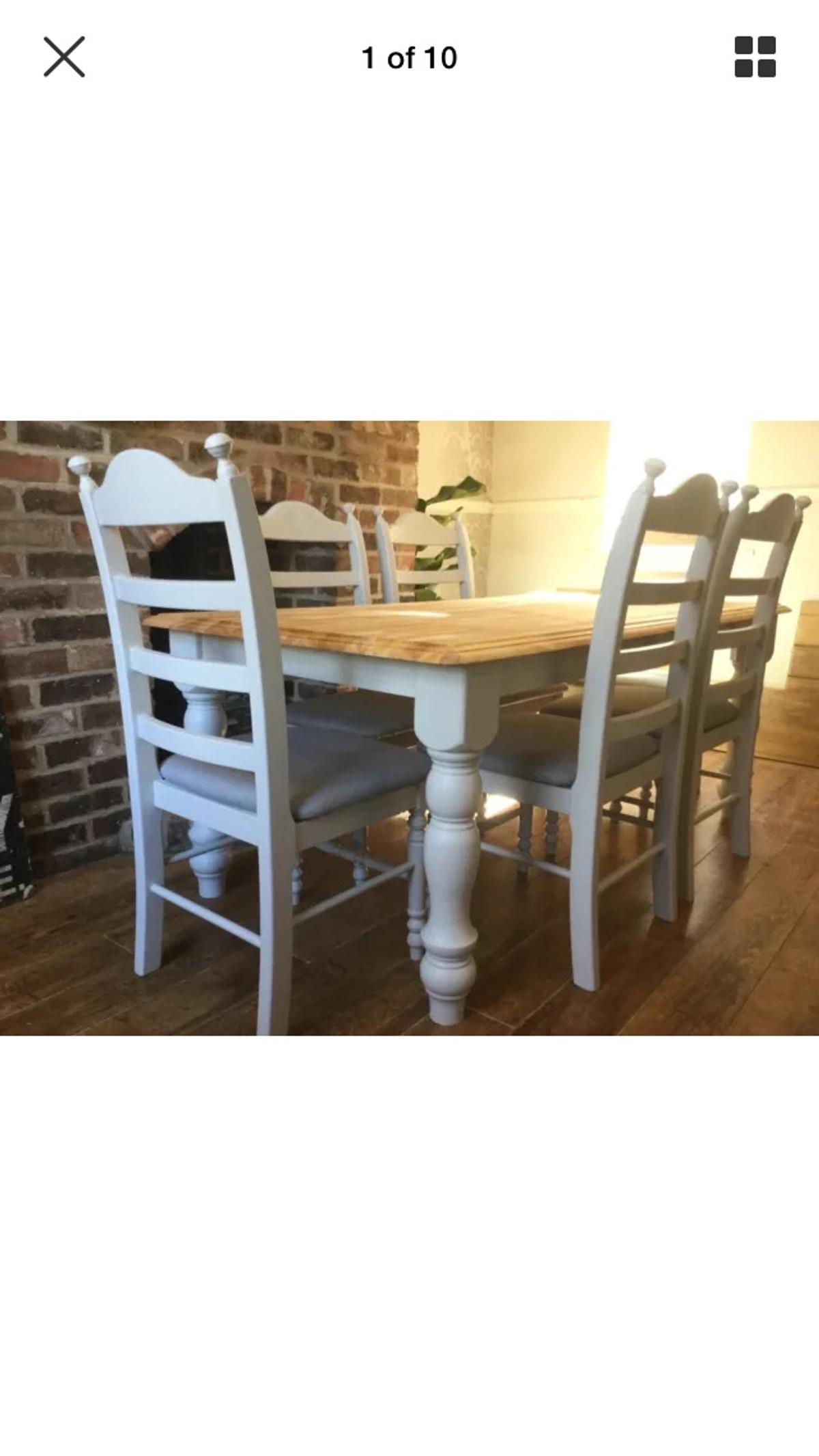 Oak table and 9 chairs painted F&B grey in Amber Valley für 9,9 ...