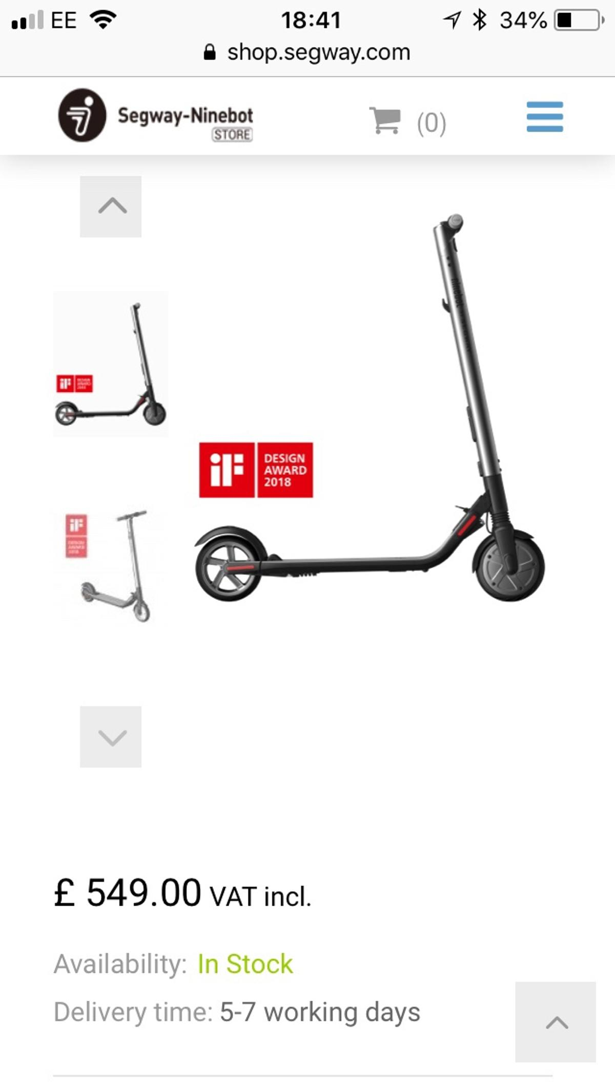 Segway Ninebot ES2 Electric Scooter - NEW in SS15 Basildon