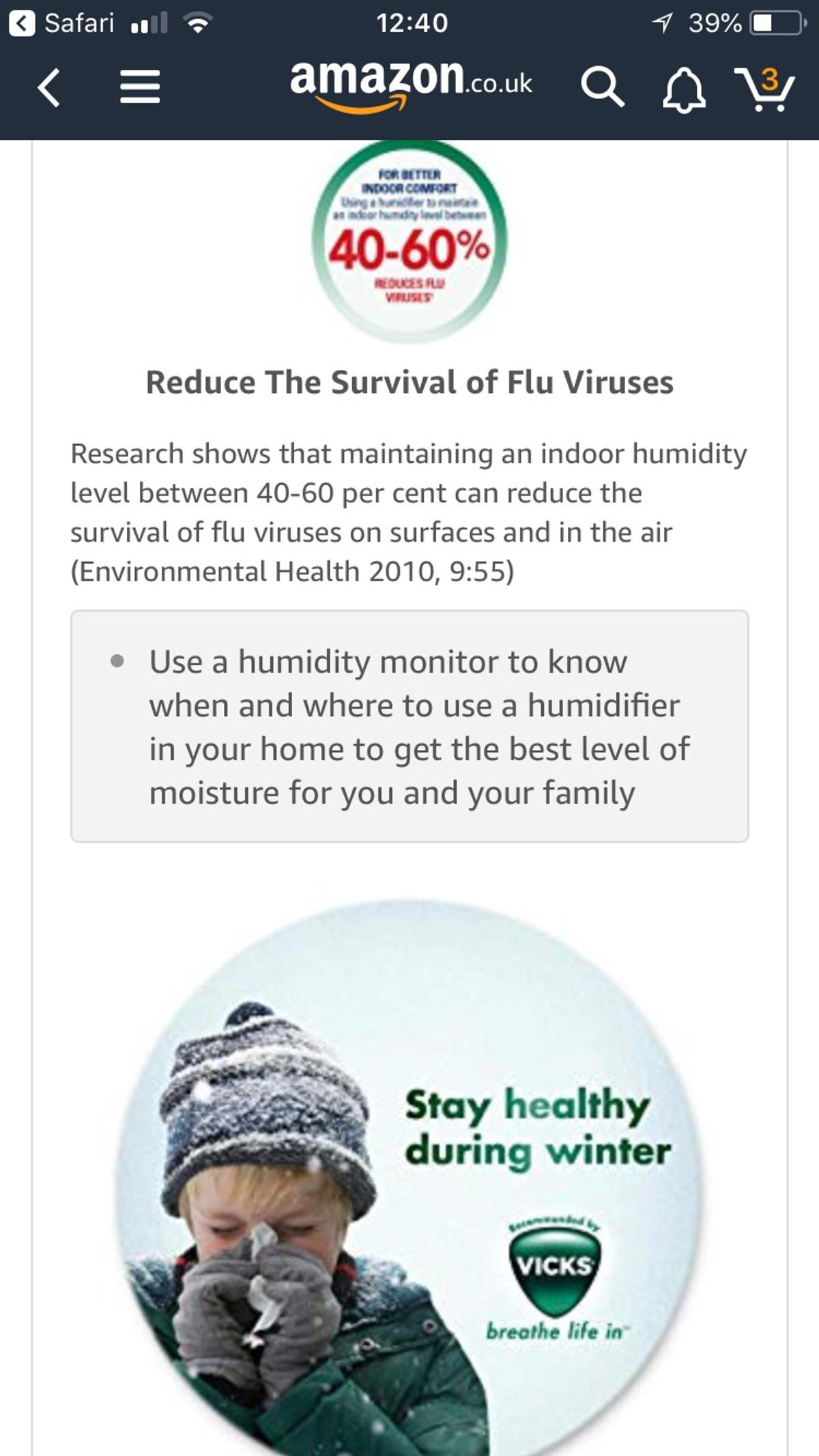 Vicks Humidifier help clears coldscongestion