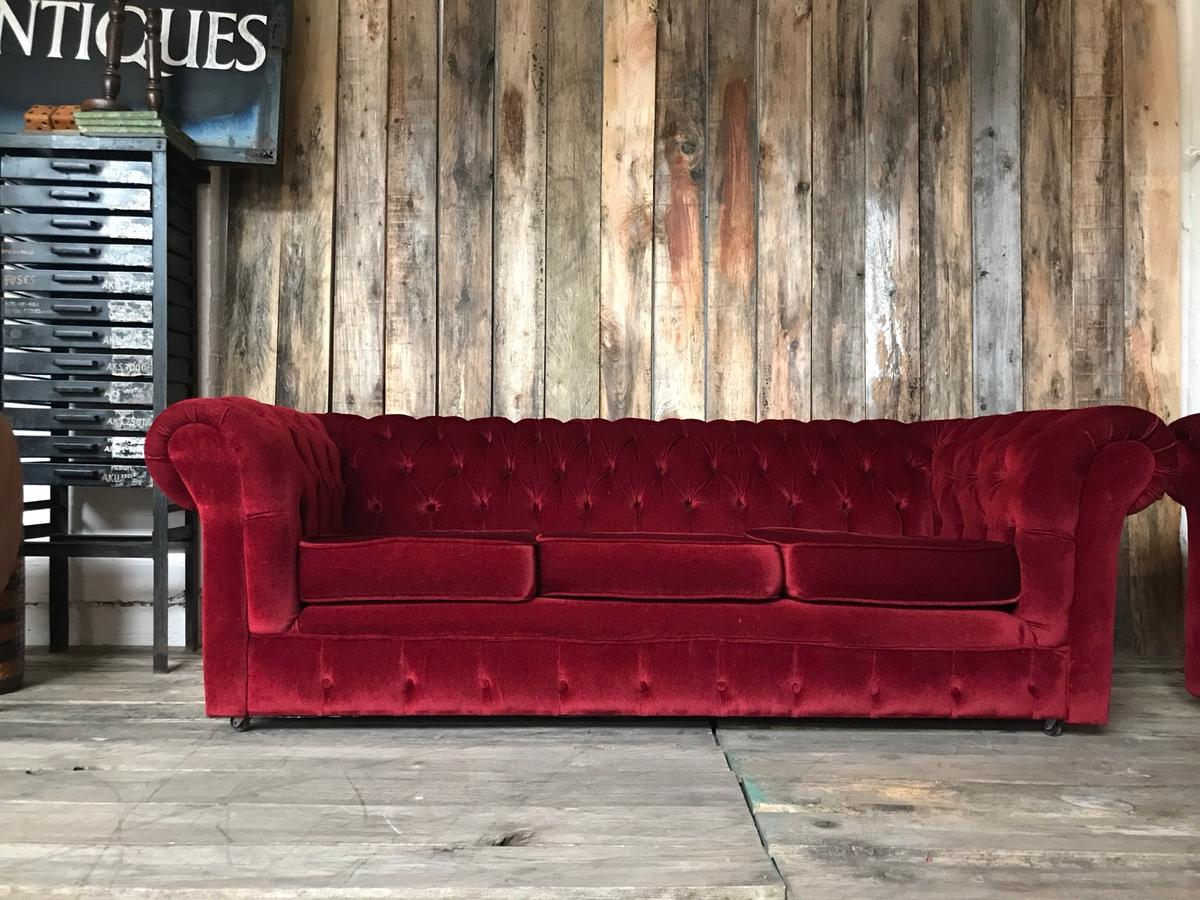 Vintage deep red chenille Chesterfield sofa
