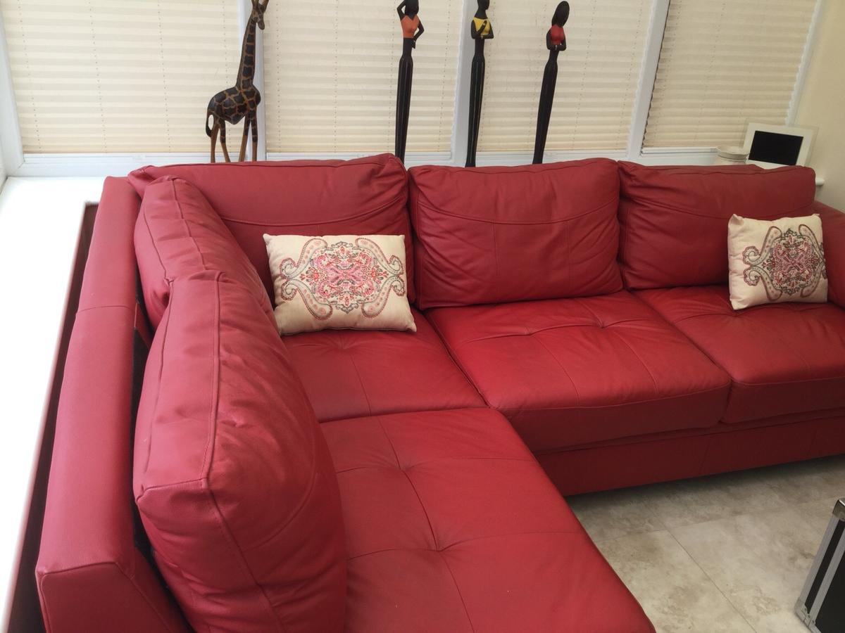 Red corner unit sofa bed in leather in Nottinghamshire for ...