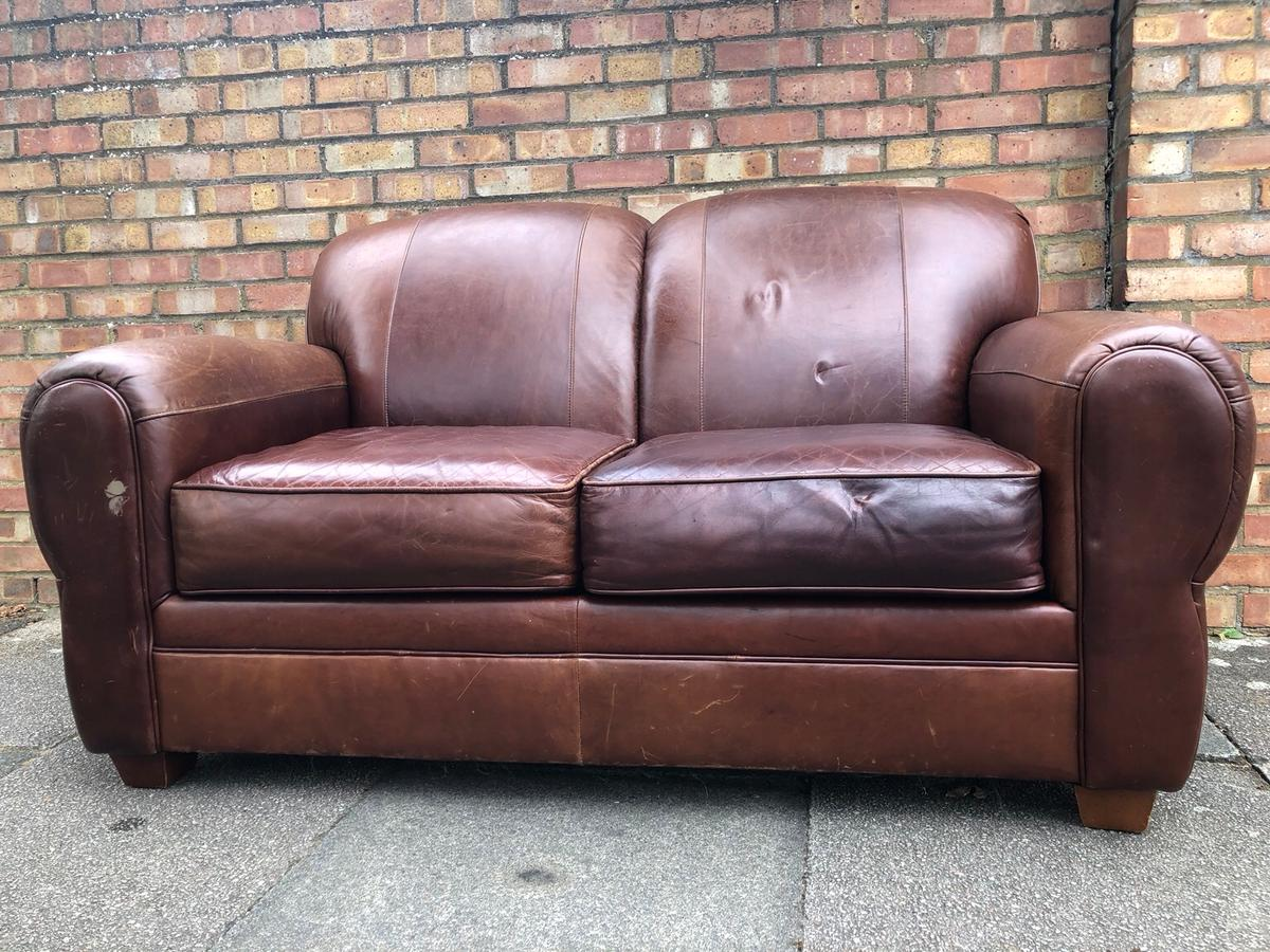 Brown Leather Sofa In Sw11 Wandsworth