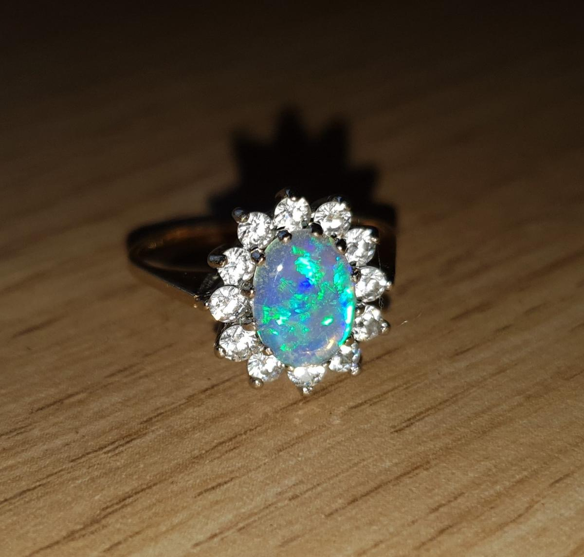 f0b631a77078f 9ct Yellow Gold Opal Cluster Ring M 375 2.1g in BA6 Mendip for ...
