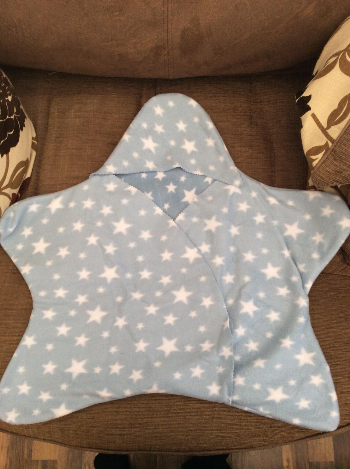 Tuppence and Crumble soft fleece hooded baby blanket wrap Fawn