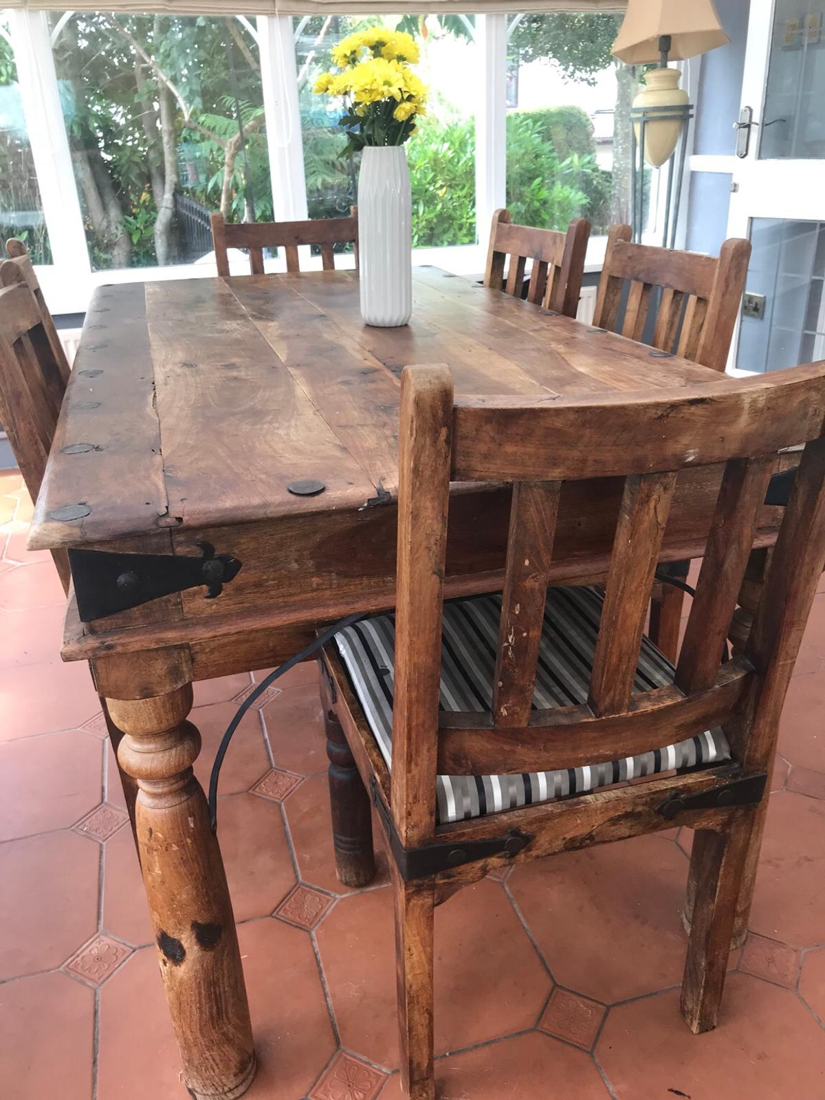 Rustic Oak Dining Table 6 Chairs In Cf