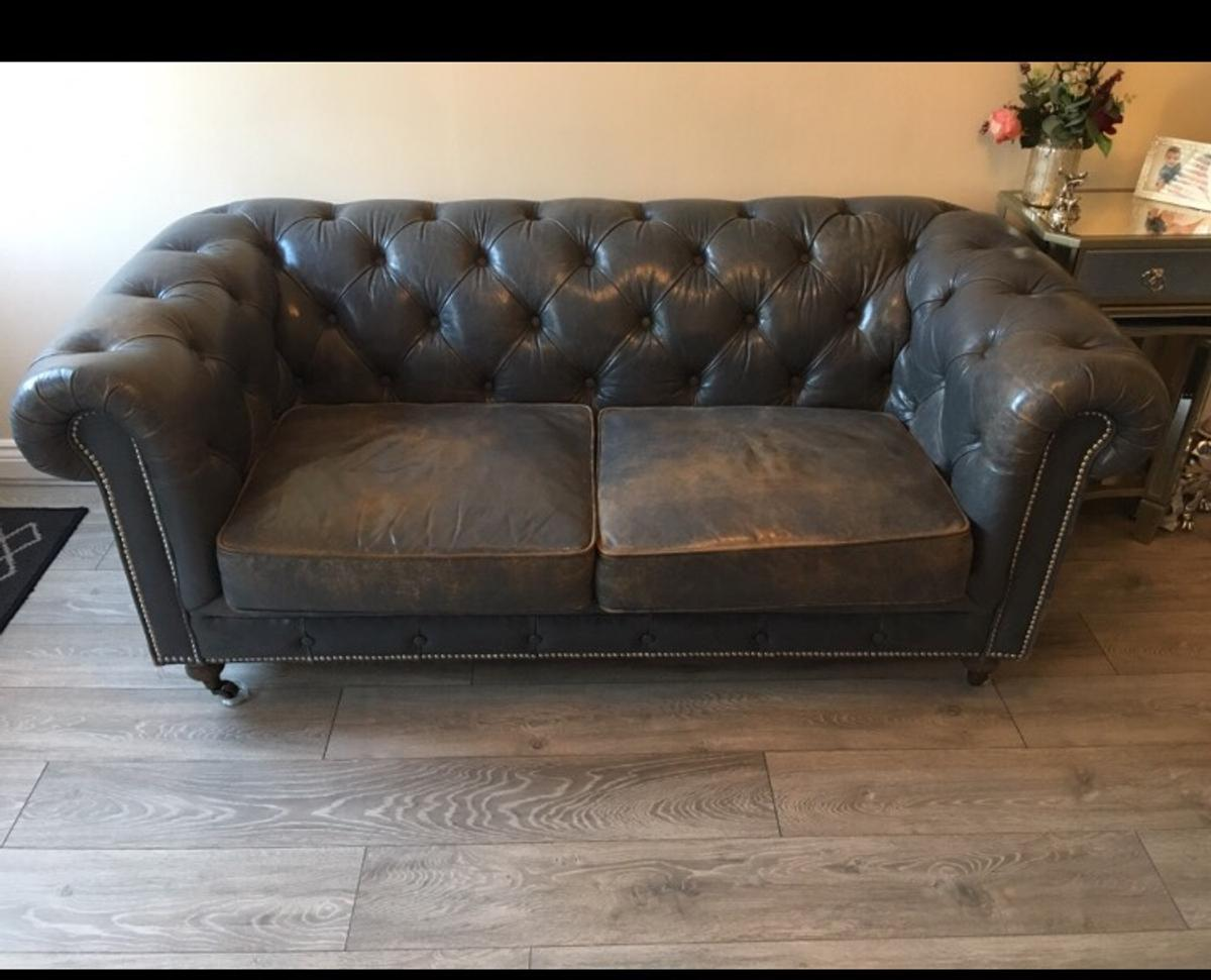 Grey leather chesterfield sofa in DY10 Wyre Forest for ...
