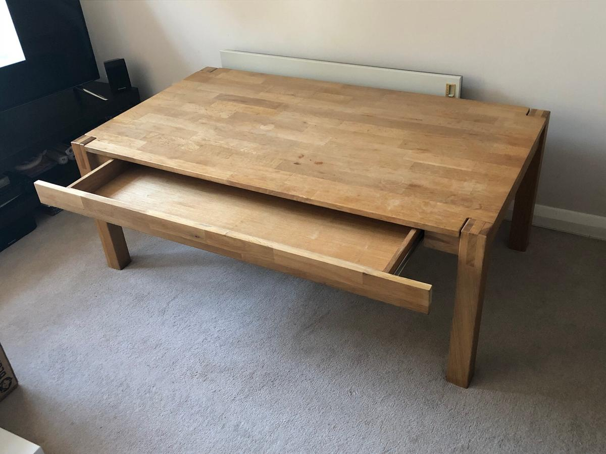 Large Oak Coffee Table With Hidden Drawer