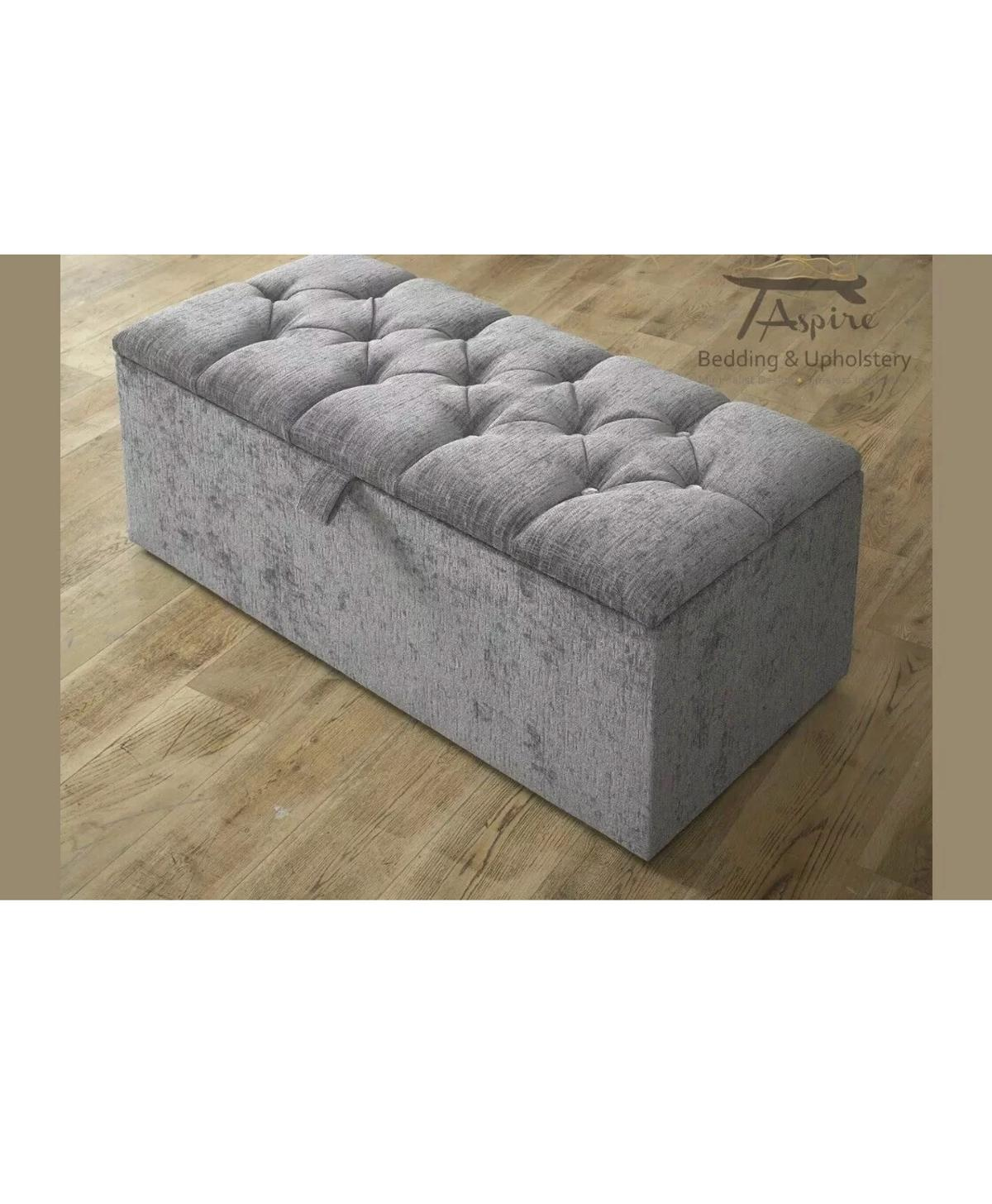 Fabulous Crushed Velvet Ottoman Storage Boxes In Wf12 Kirklees Fur 75 Ncnpc Chair Design For Home Ncnpcorg