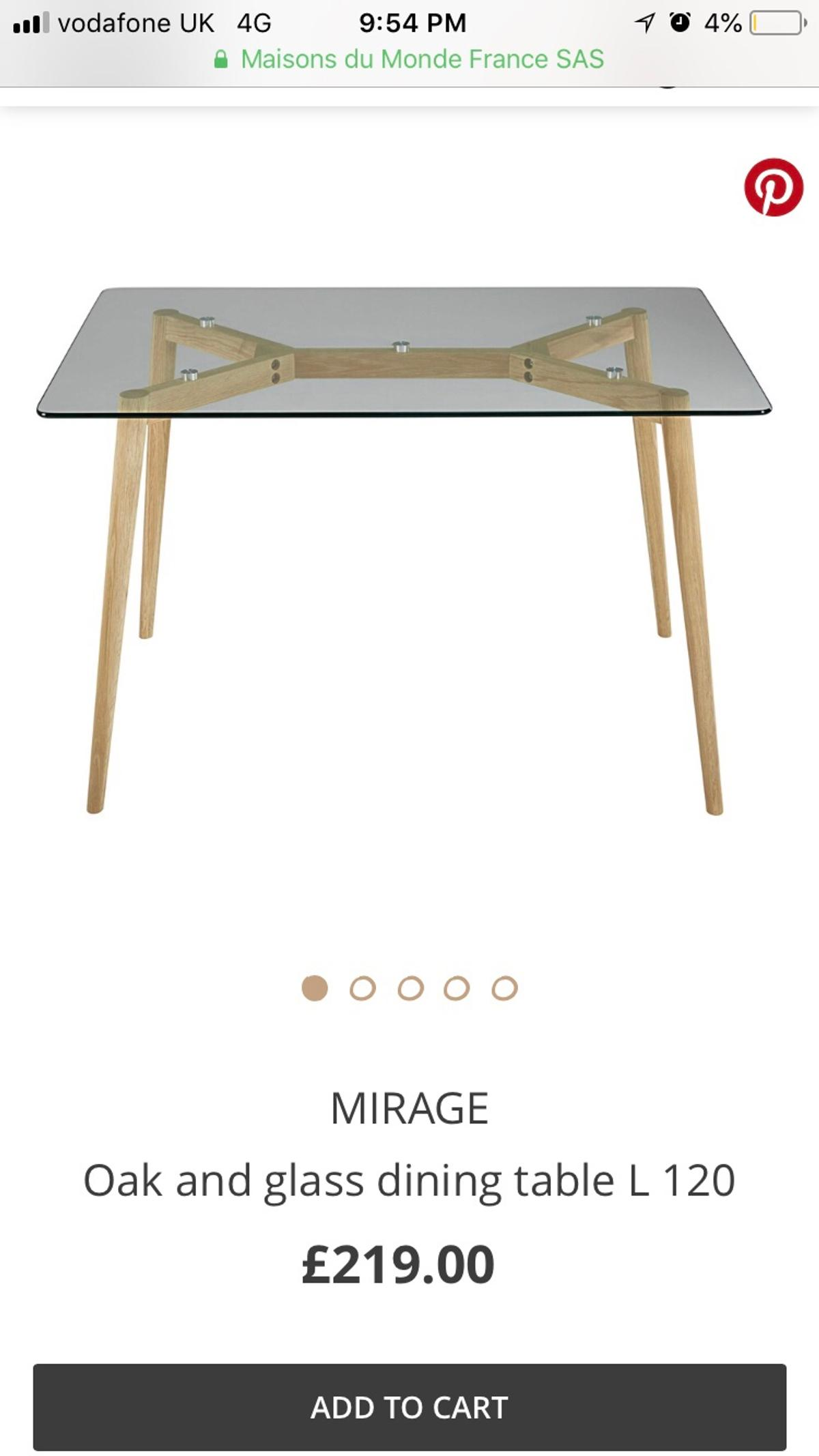 New Maisons Du Monde Glass Dining Table