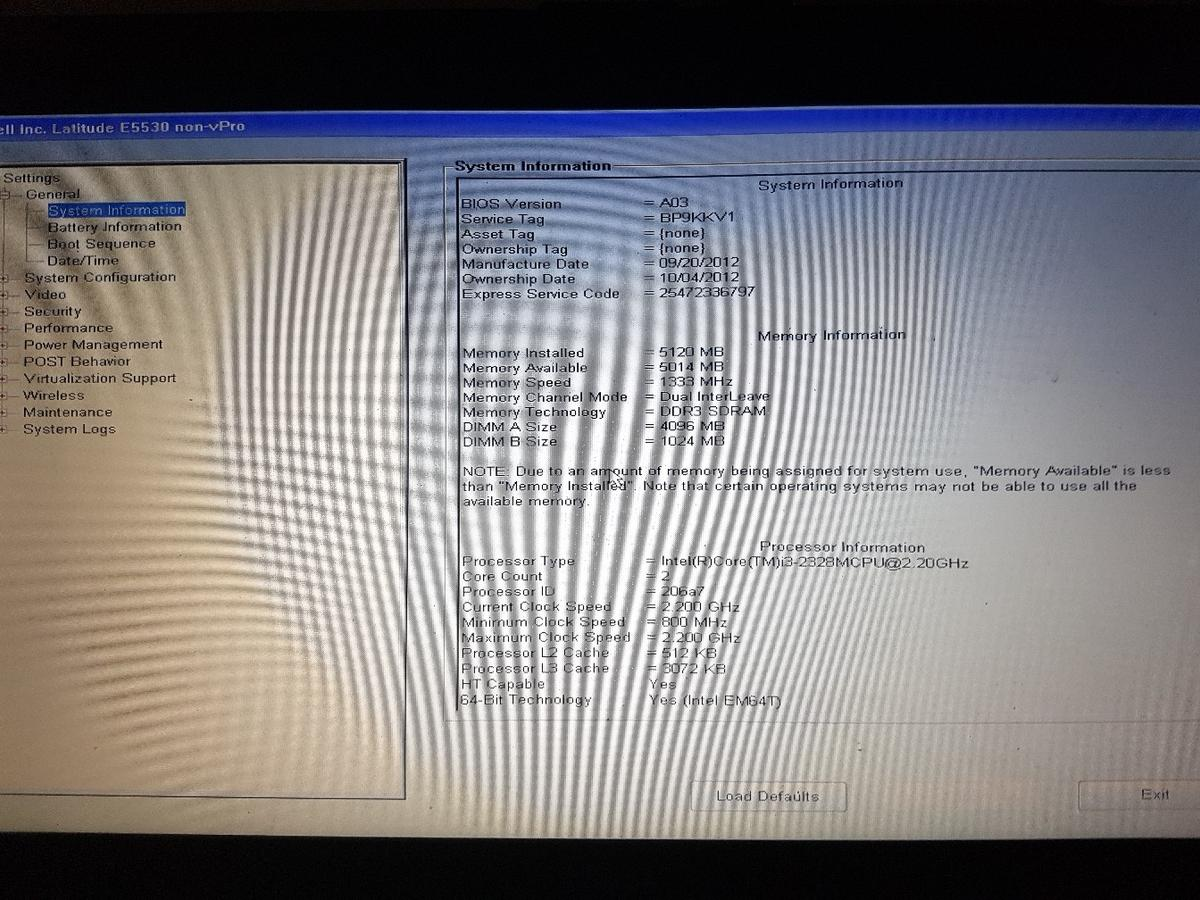 Dell Bios Screen
