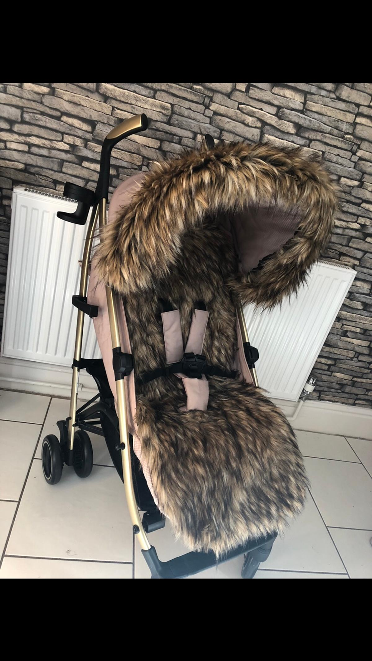 Light Grey For-Your-Little-One Fur Hood Trim Pram Compatible on Icoo