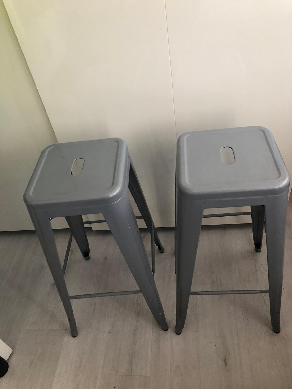 Remarkable Tolix Style Bar Stools Pair Grey Gmtry Best Dining Table And Chair Ideas Images Gmtryco