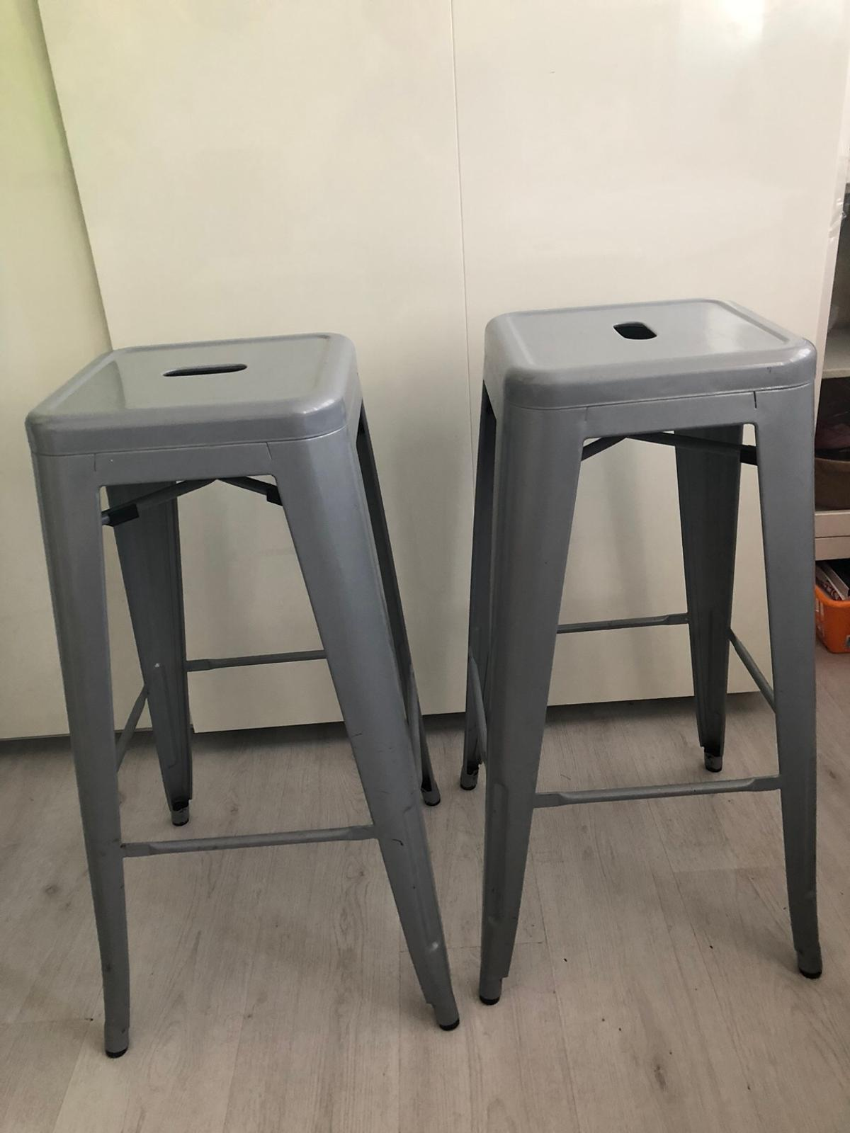 Sensational Tolix Style Bar Stools Pair Grey Gmtry Best Dining Table And Chair Ideas Images Gmtryco