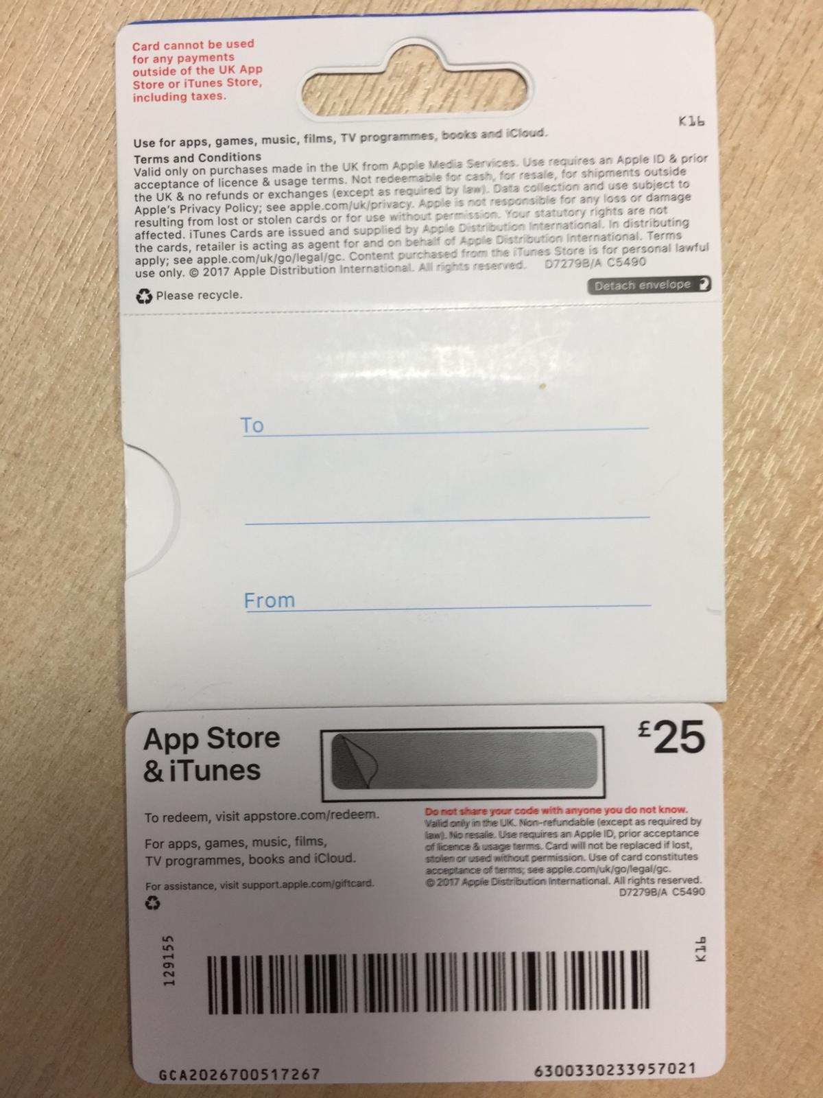 App Store & iTunes £25 gift card