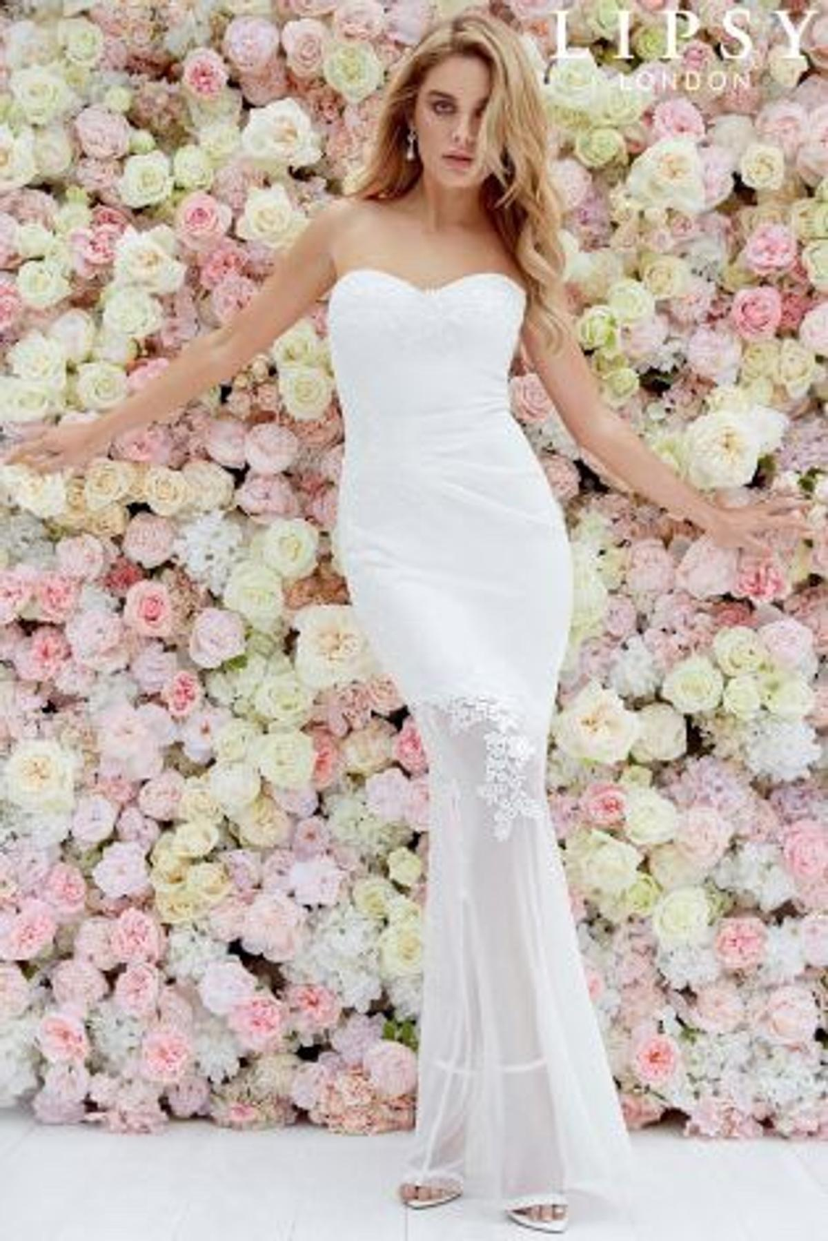 Embroidered Wedding Dress.Lipsy Lydia Bandeau Embroidered Bride Dress