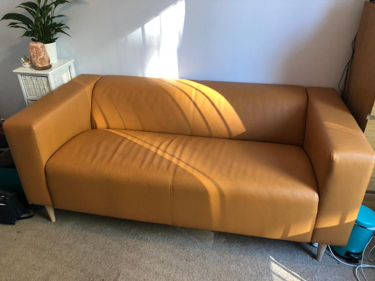 Super Orange Tan Faux Leather Sofa Ikea Klippan In M15 Manchester Gmtry Best Dining Table And Chair Ideas Images Gmtryco