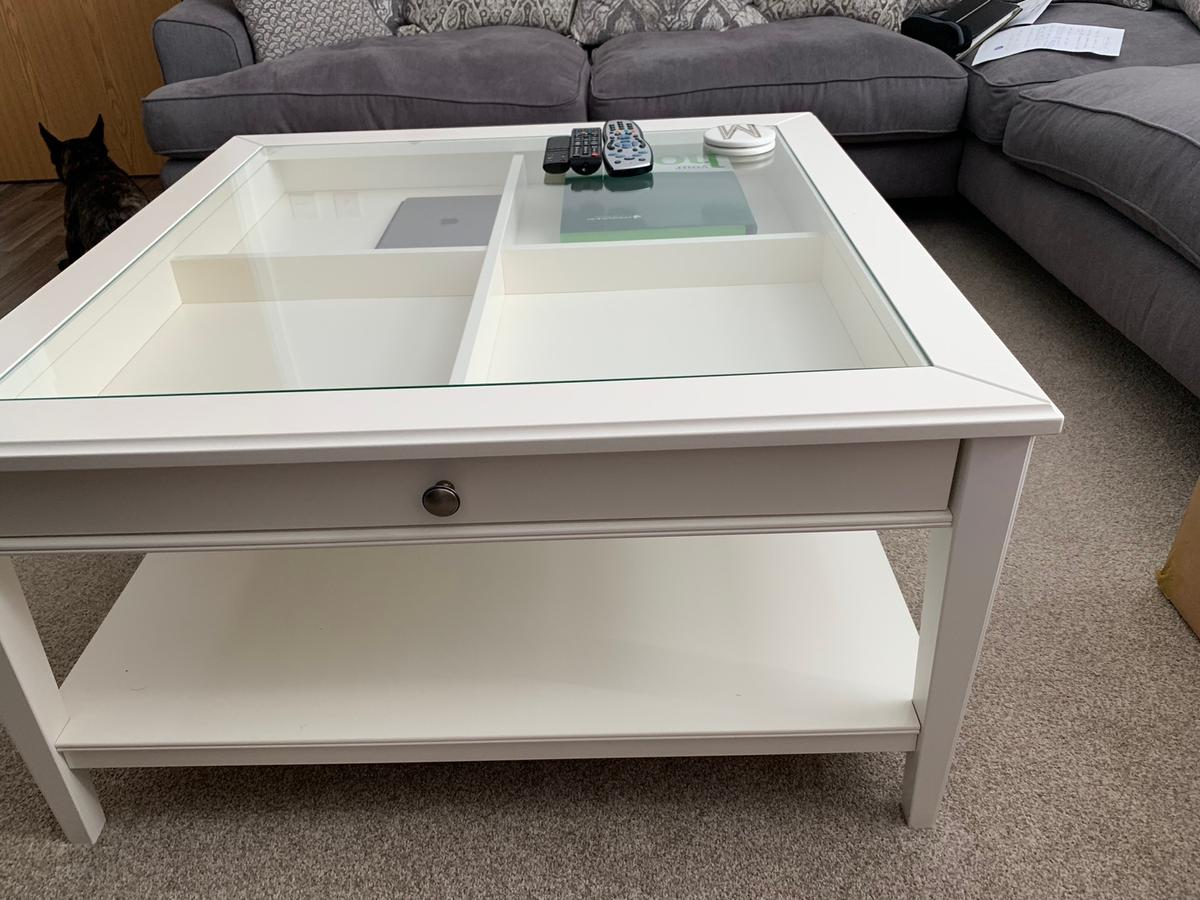 - Ikea Large Glass Coffee Table With Drawer In Doncaster Für 120,00