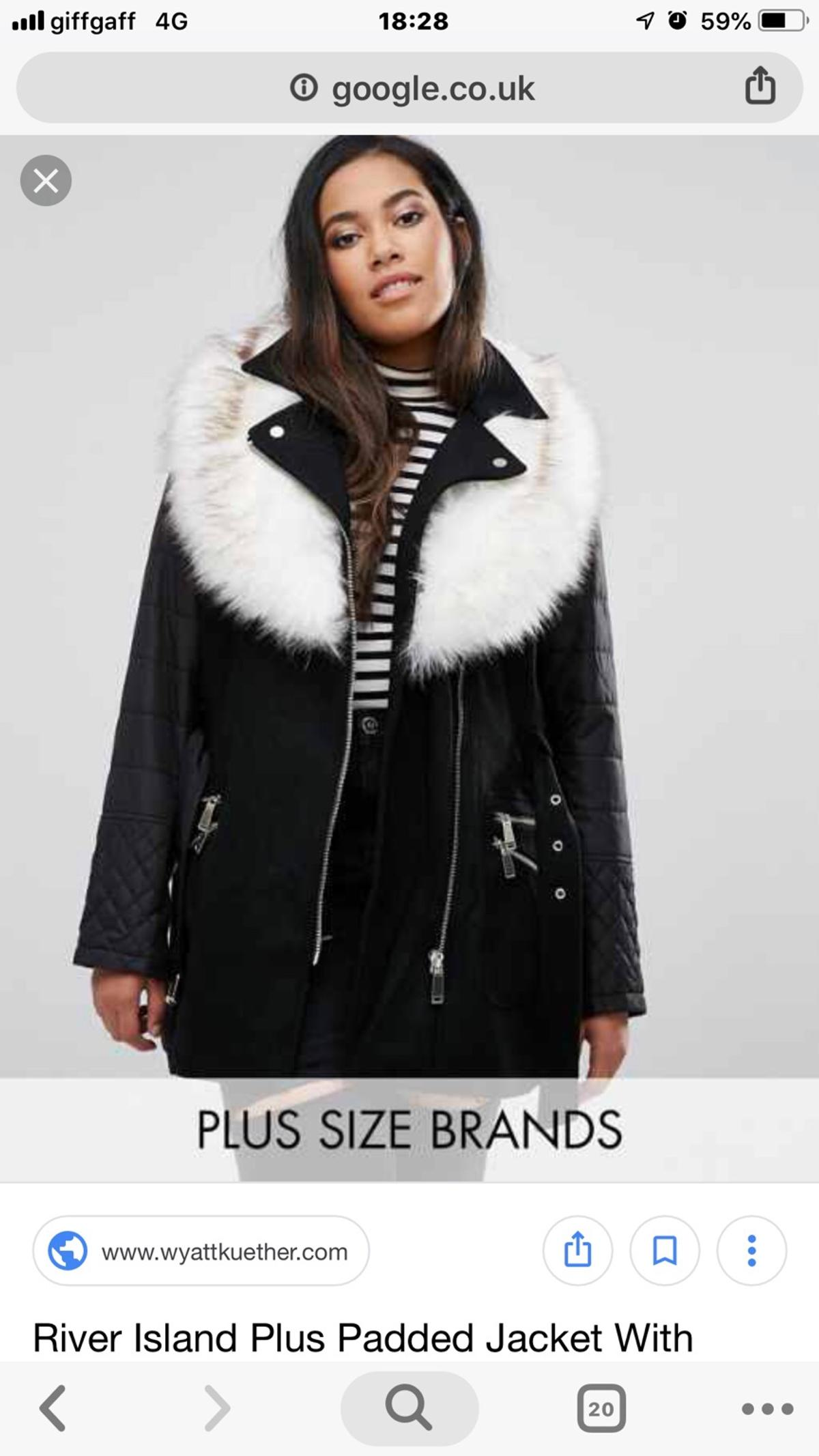 well known huge discount half price Plus size River Island coat