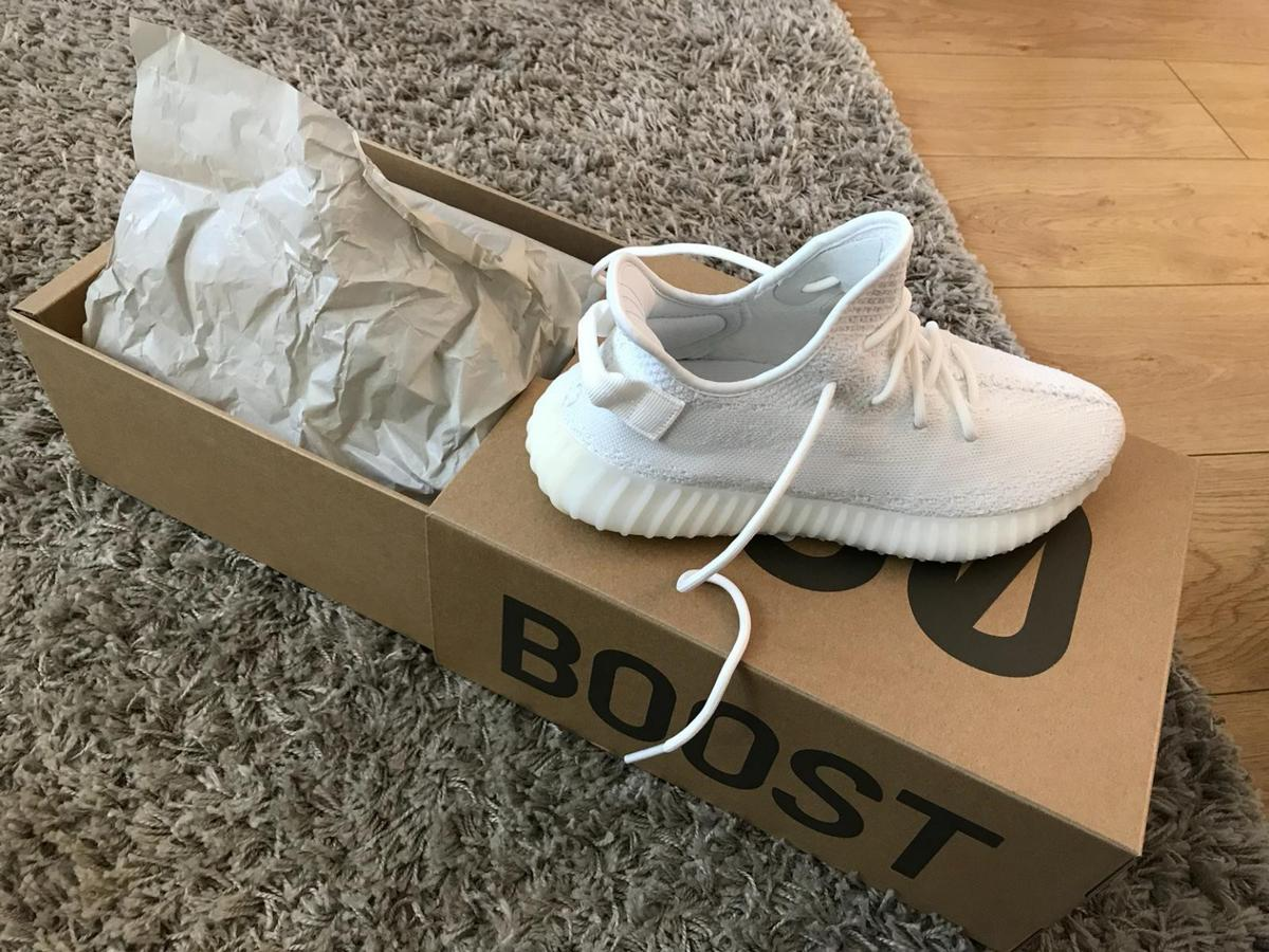 3915590ed26 Description. As Title. Pair of Original Adidas Yeezy in Triple White Size 9  For Sale.