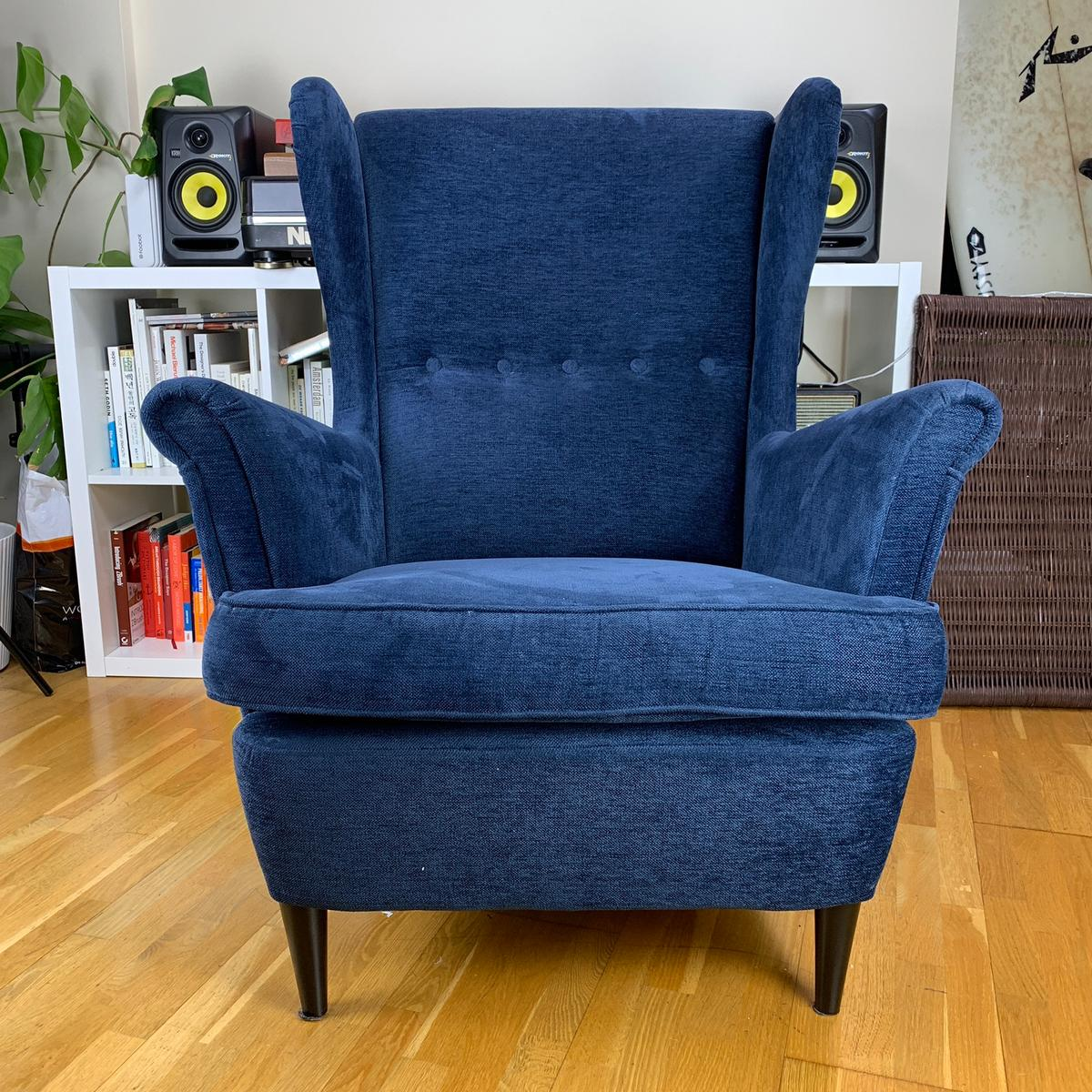 STRANDMON Tallmyra blue, Wing chair IKEA