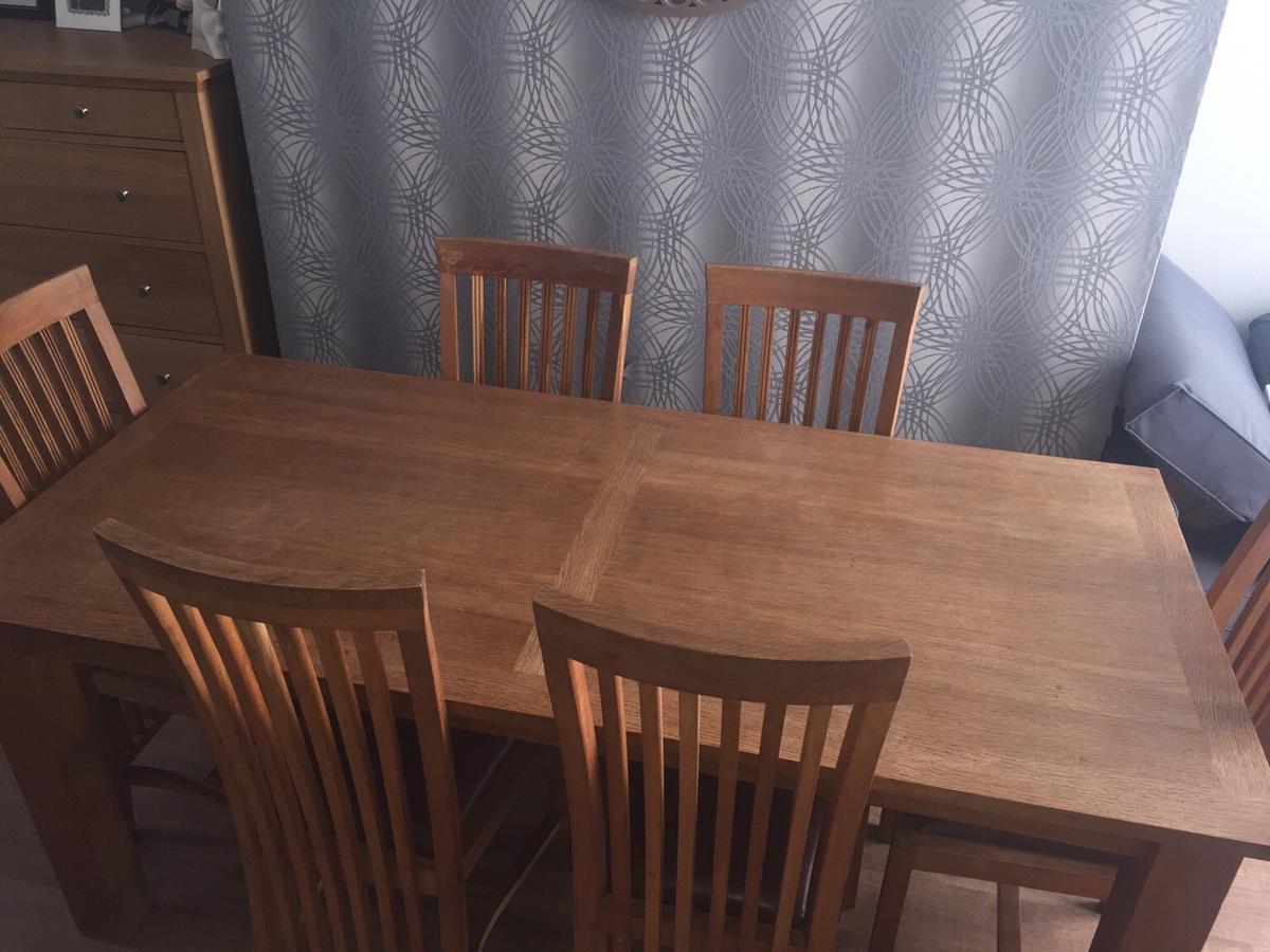 Fantastic Solid Oak Dining Table And 6 Chairs Home Interior And Landscaping Ologienasavecom