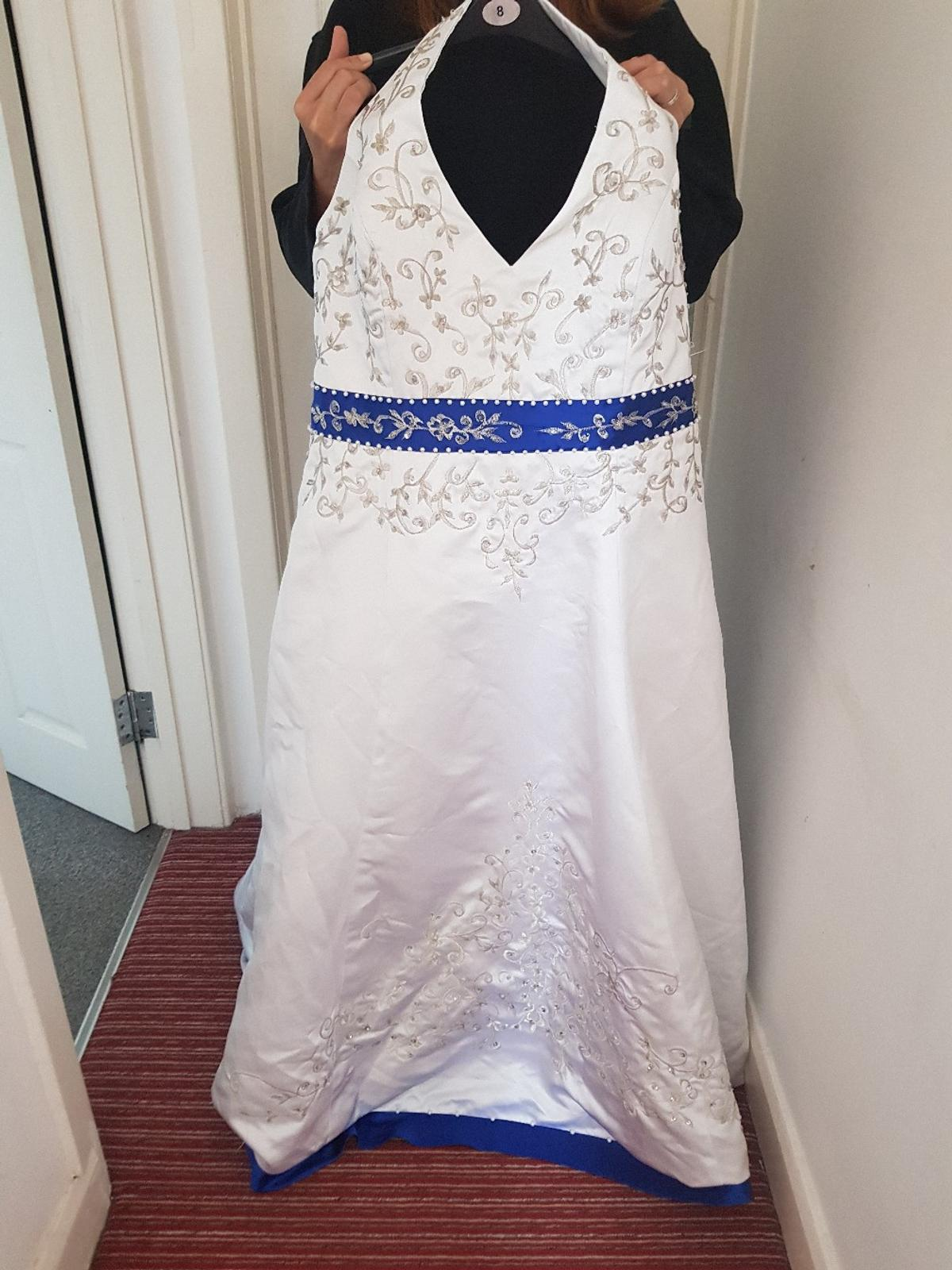 Plus Size White And Royal Blue Wedding Dress In Barnsley For