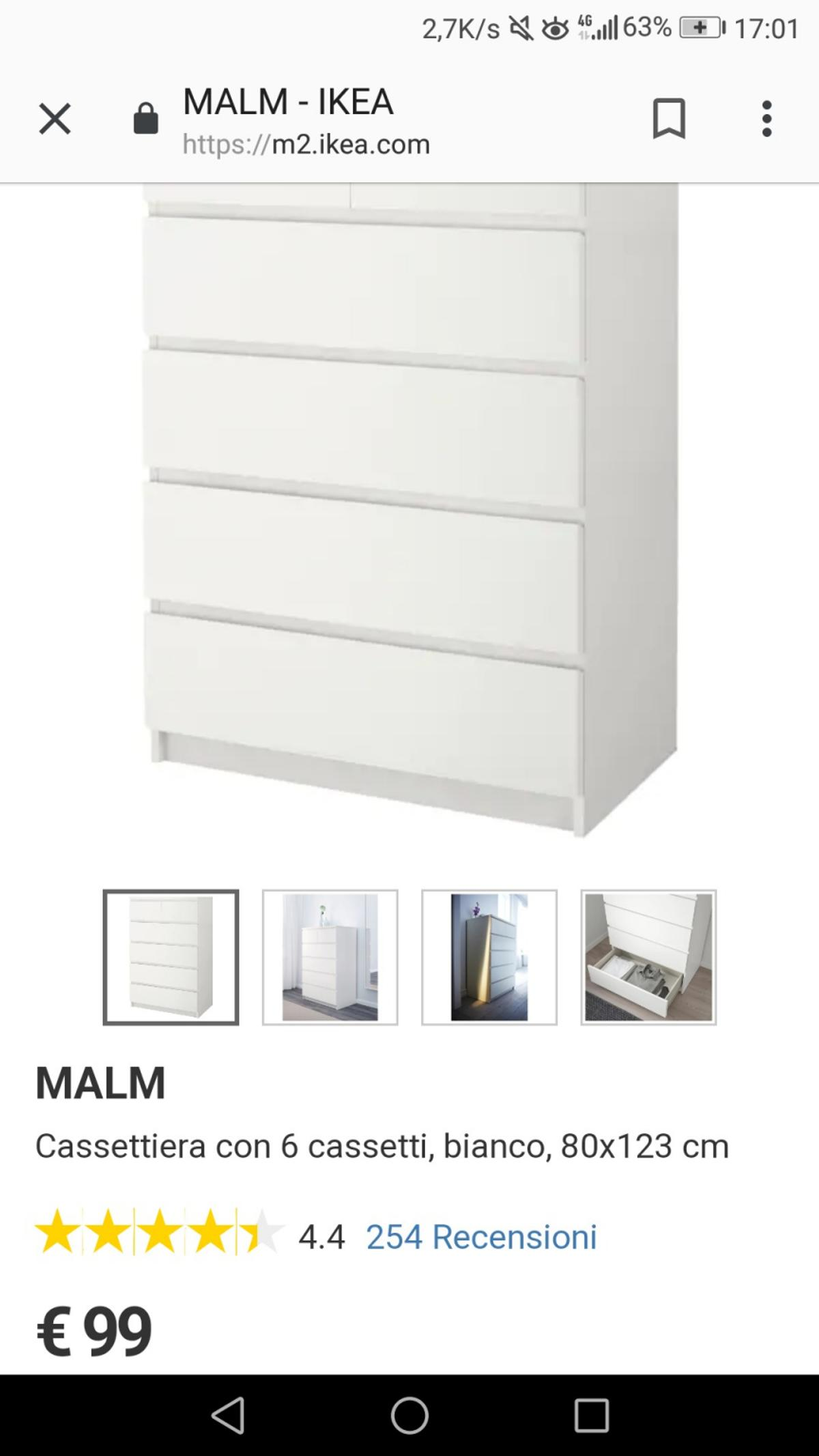 Ikea Malm Cassettiera 6 Cassetti.Cassettiera 6 Cassetti Ikea Bianca In 20065 Inzago For 55 00 For