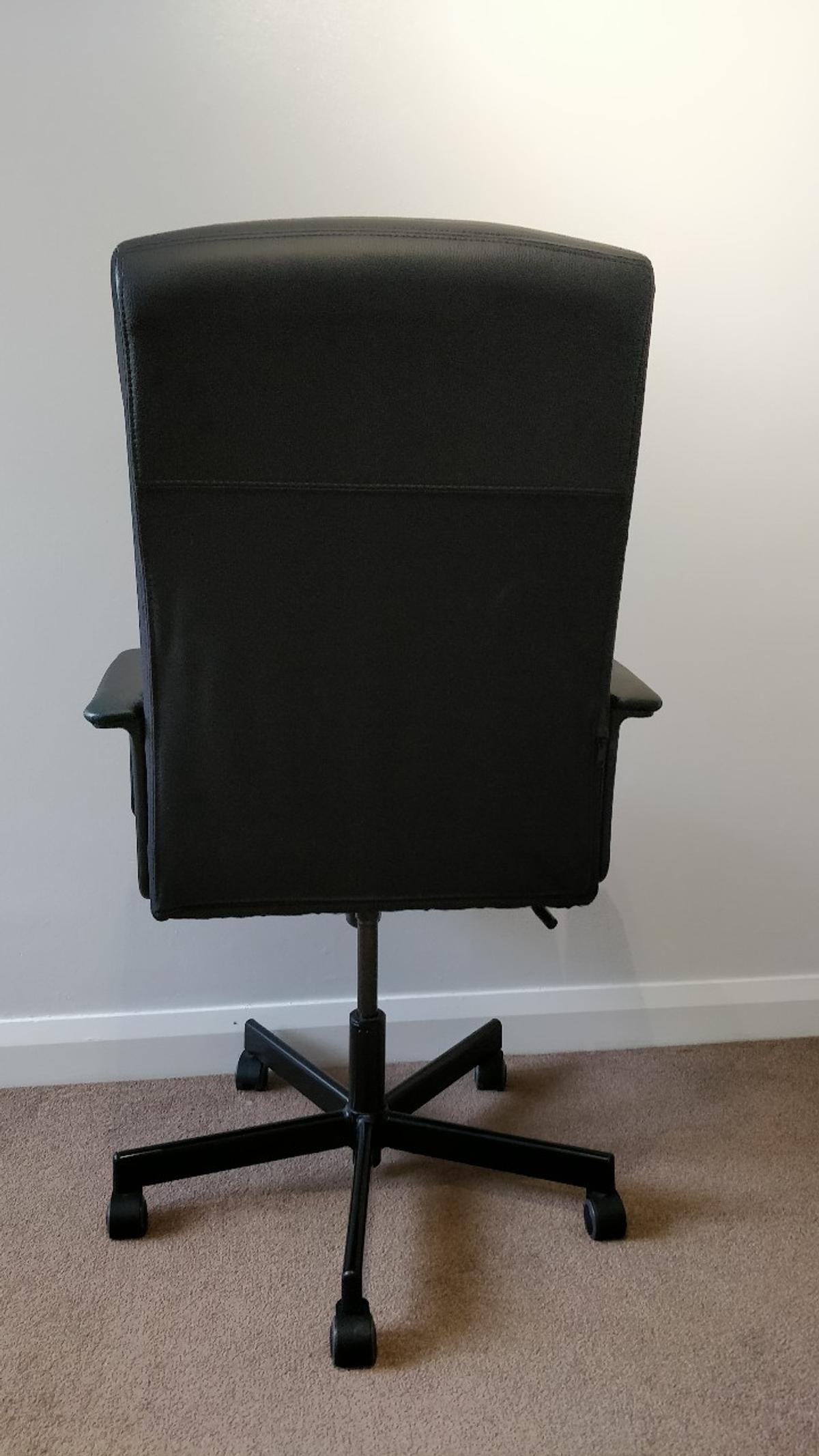 Exceptionnel Black Leather Swivel Office Chair (Ikea)