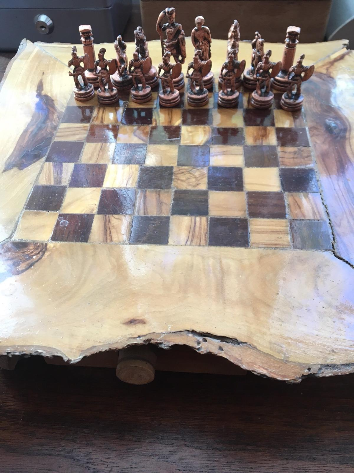 Wooden driftwood chess set with solid pieces in W10 Chelsea