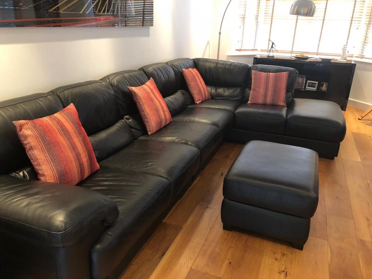 info for 99043 70590 Black 7 seater Corner Sofa with footstool