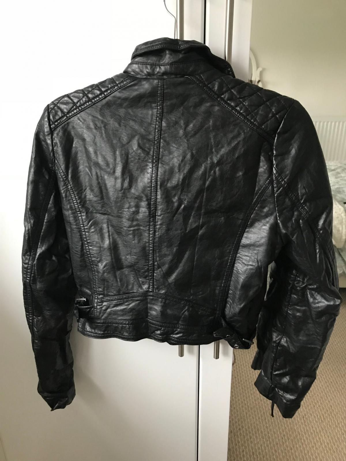 lowest price latest trends of 2019 wholesale price Women`s H&M Black Leather Biker Jacket Size12