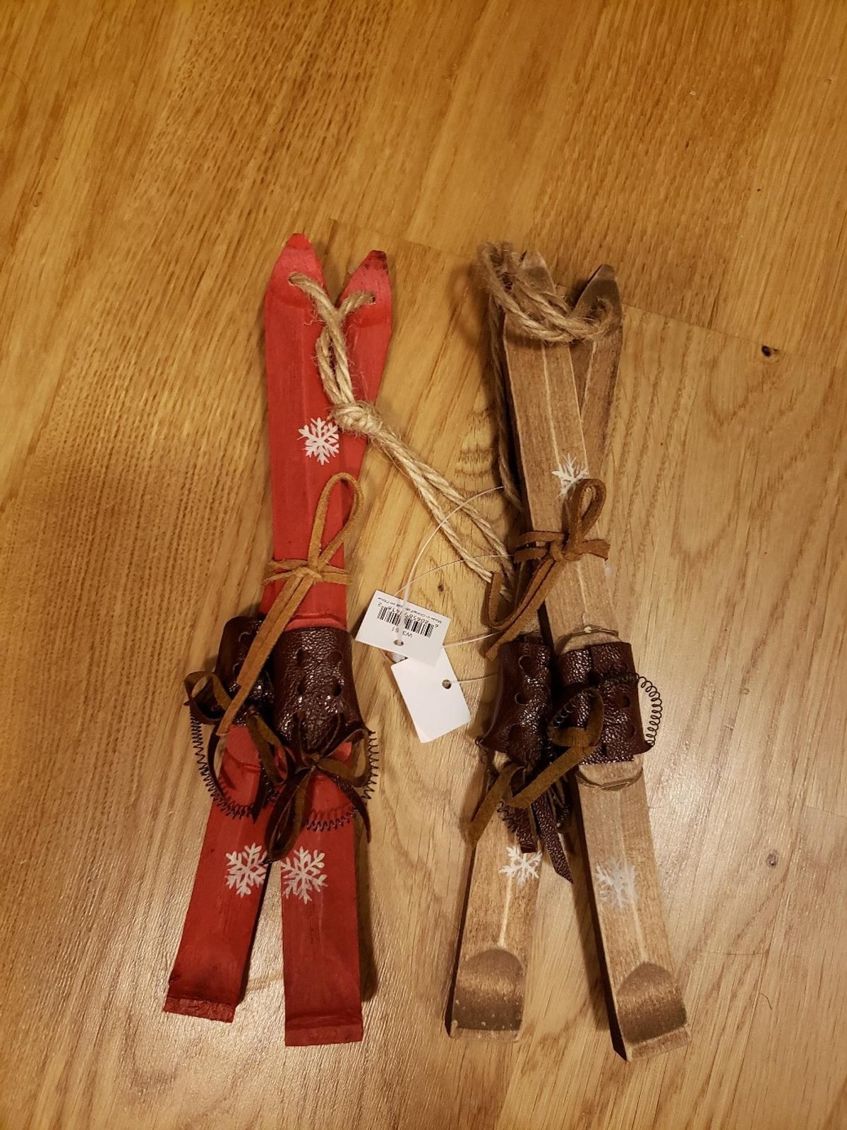 Christmas Ornaments Wooden Skis