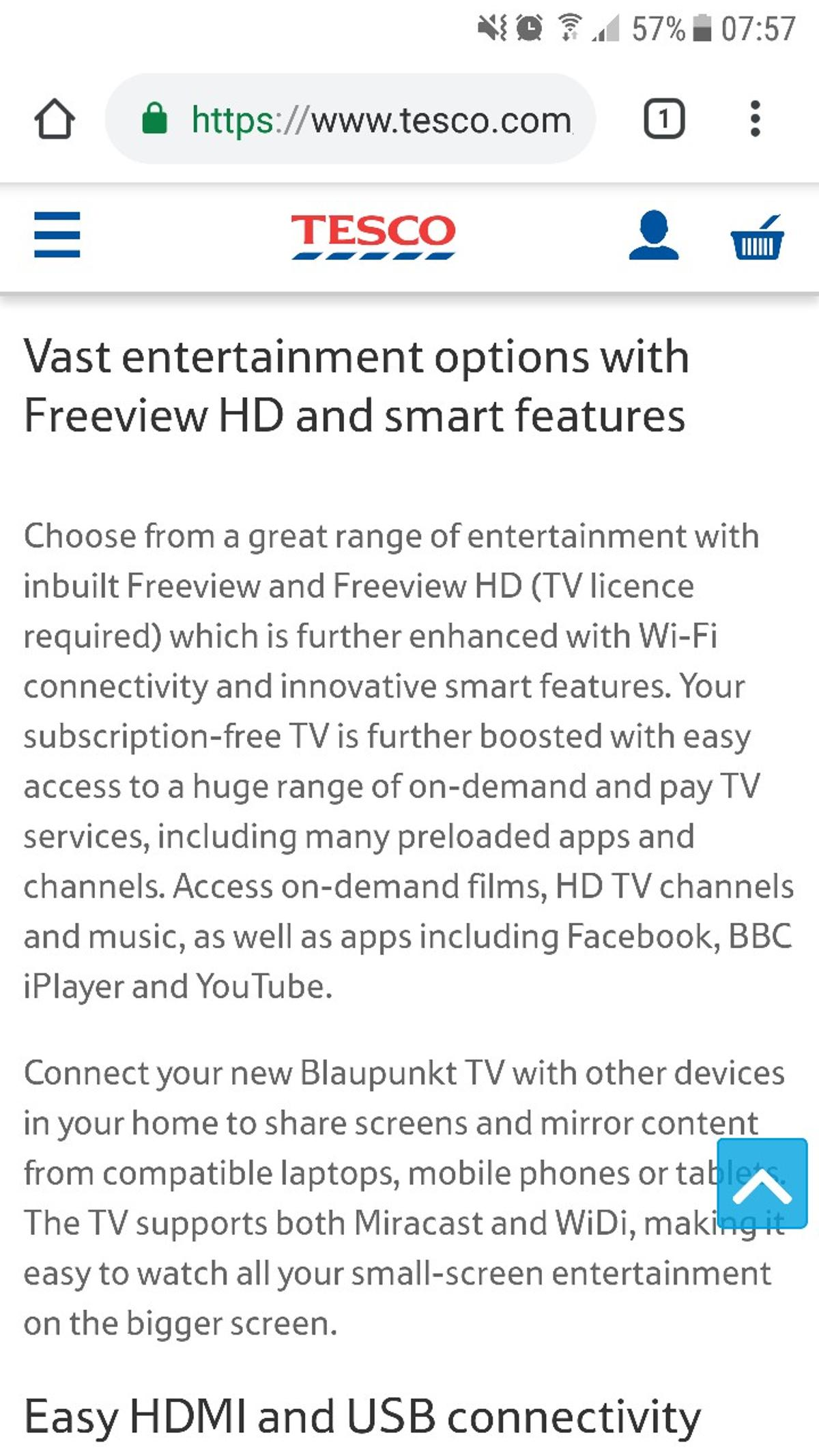 Blaupunkt 43 smart tv in PA16 Gourock for £140 00 for sale - Shpock
