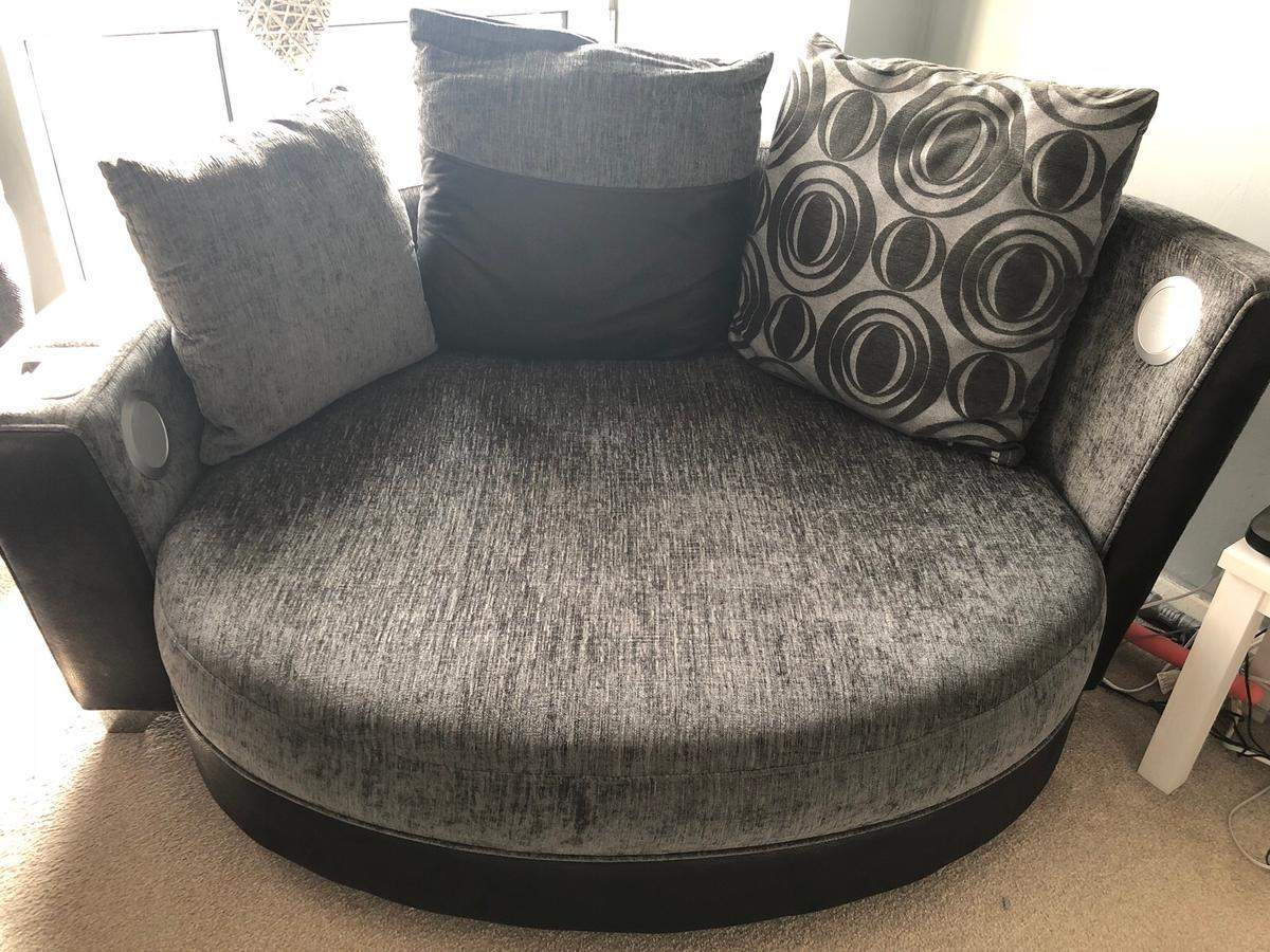 Grey Cuddle Sofa With Docking Station