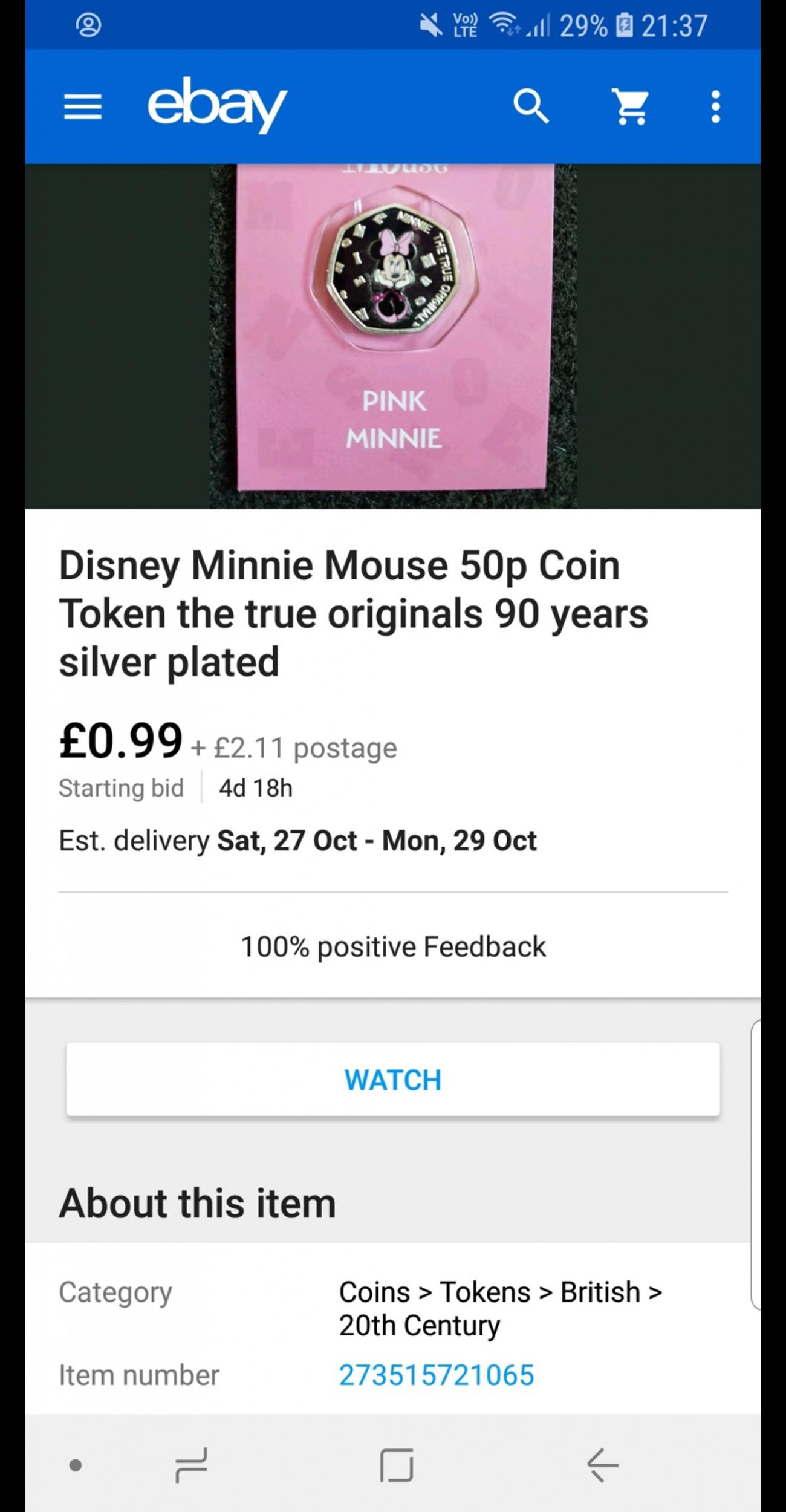 Mickey Mouse and minnie mouse 50p coin token in Seaham for £1 00 for