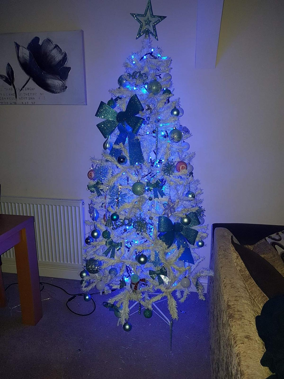 White Christmas Tree With Blue Lights.White 6ft Christmas Tree And Decs And Lights
