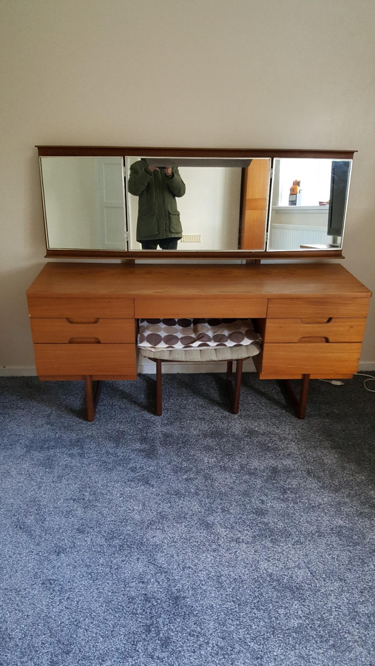 Description 3 Piece Bedroom Furniture Comprising Of Wardrobe Chest Drawers And Dressing Table With Chair Uniflex Vintage 60s