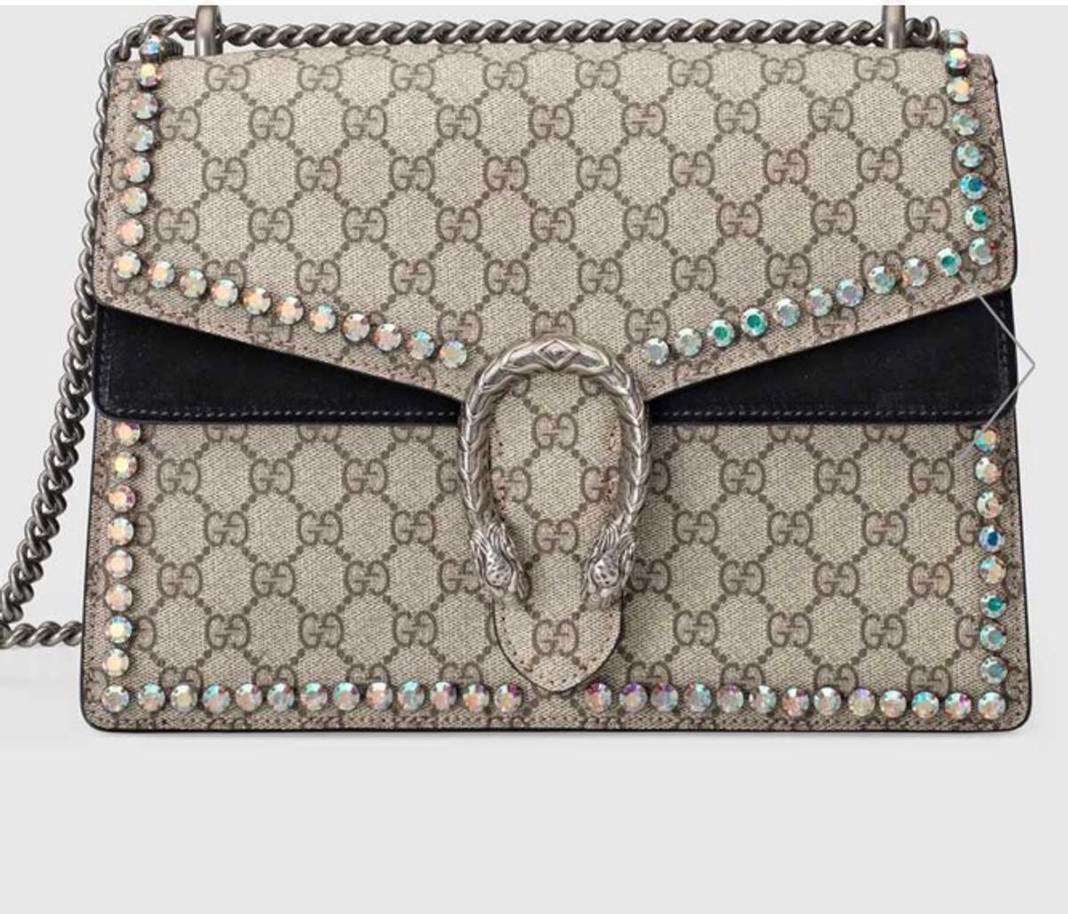 fe09587c3 Authentic GUCCI GG tote bag canvas. Description. Dionysus GG Supreme  shoulder bag with crystals. It's basically Brand new .