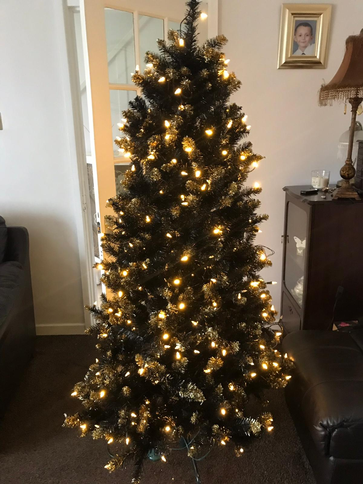 Qvc Christmas Trees.6ft Designer Tree Black And Gold Pre Lit