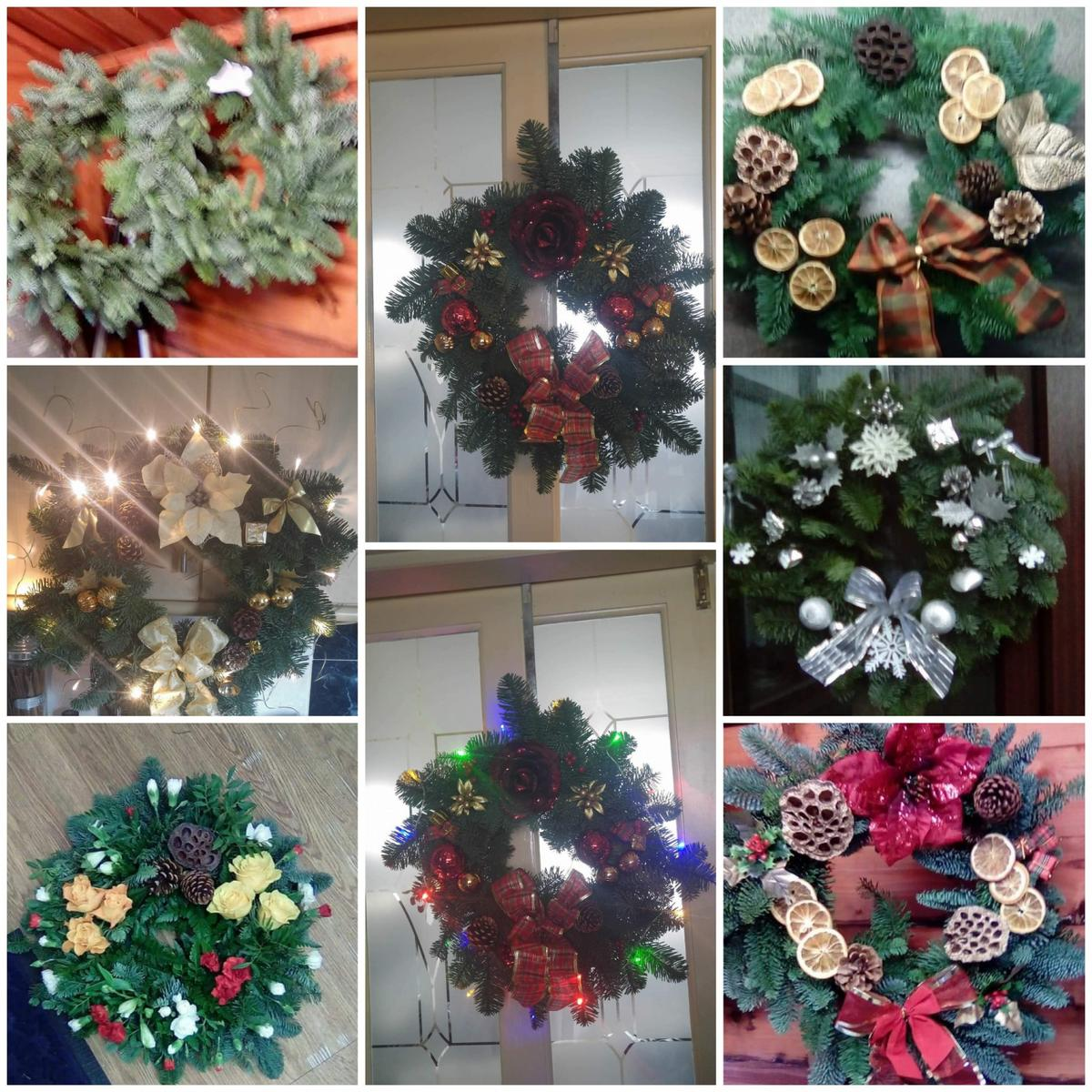 Fresh Christmas Wreaths.Real Fresh Spruce Christmas Wreaths
