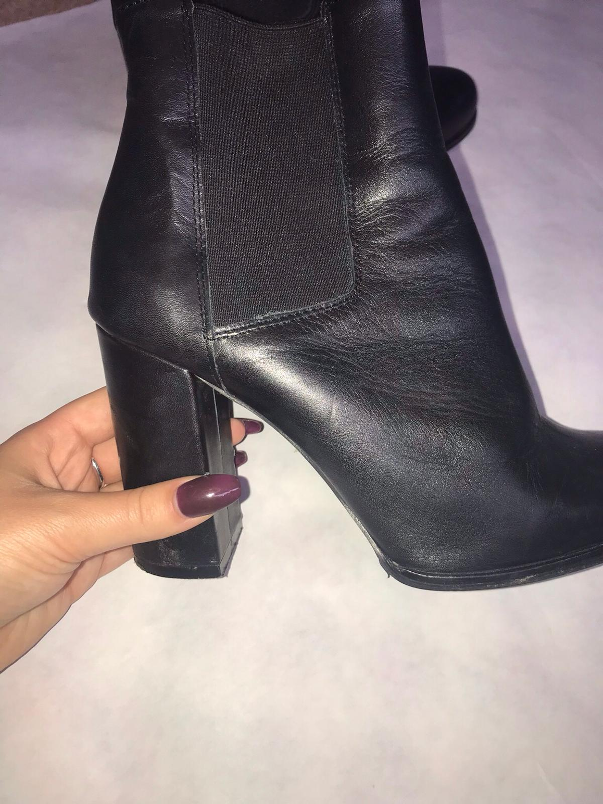 River Island black ankle boots in TS9