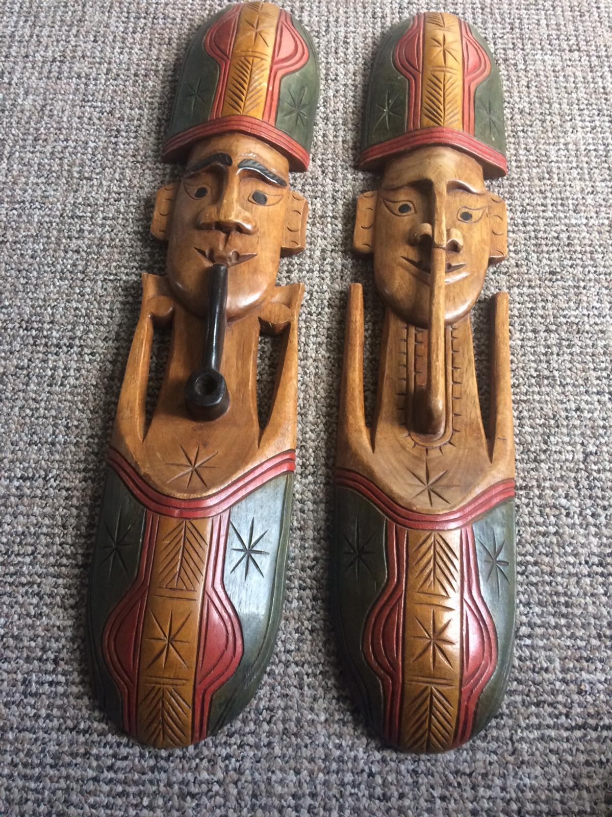 Pair Of Wooden Carved Tribal Masks Wall In Ng15 Ashfield For