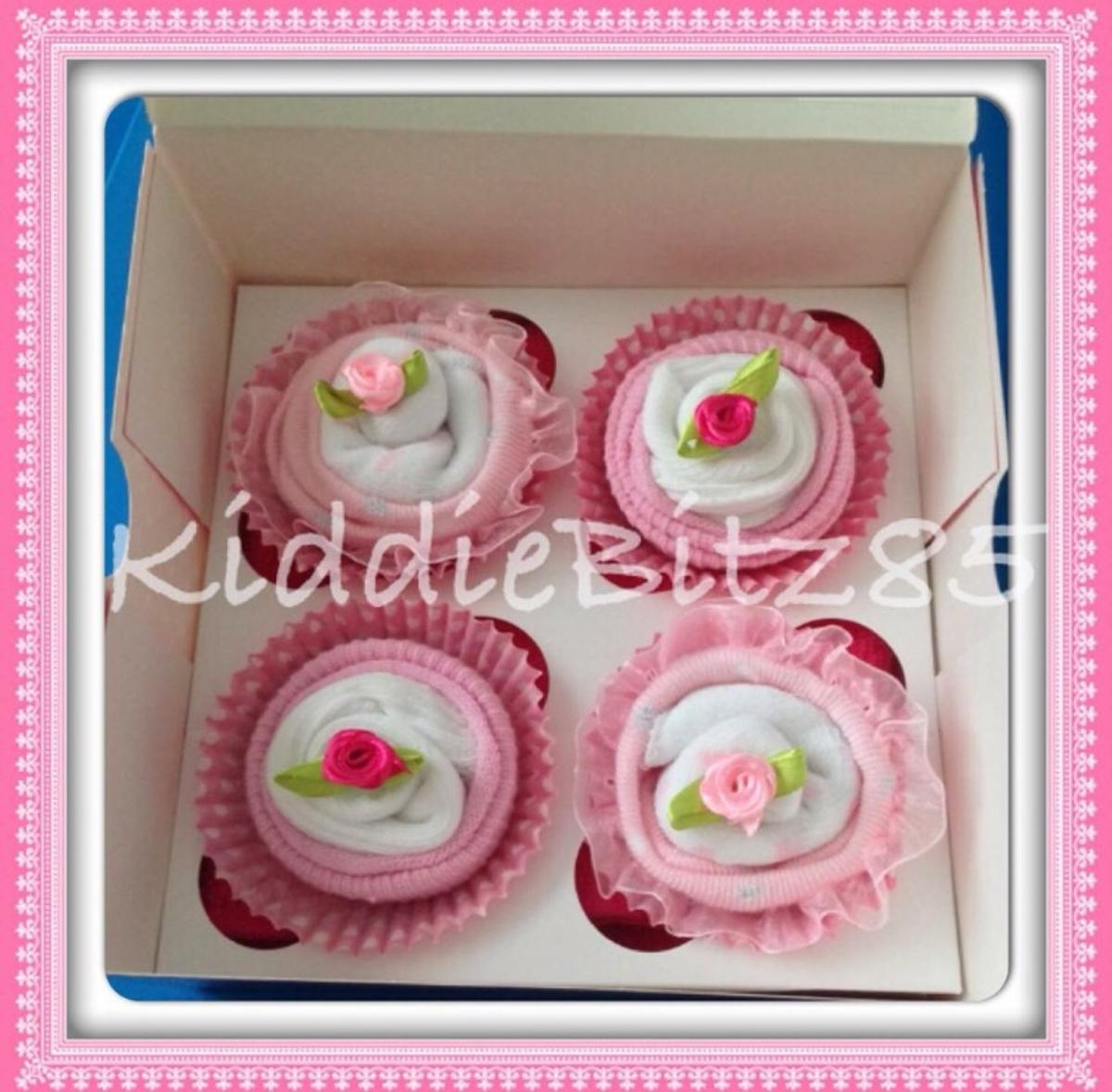 Baby Sock Cupcake Pink Boxed Set of 4