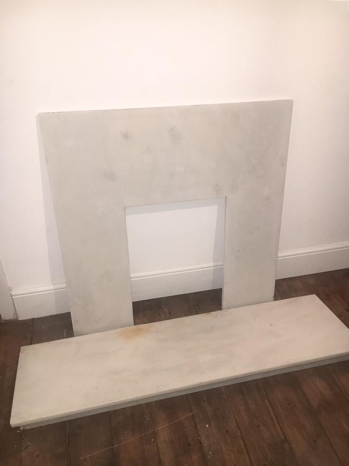 Marble fireplace back panel and hearth set
