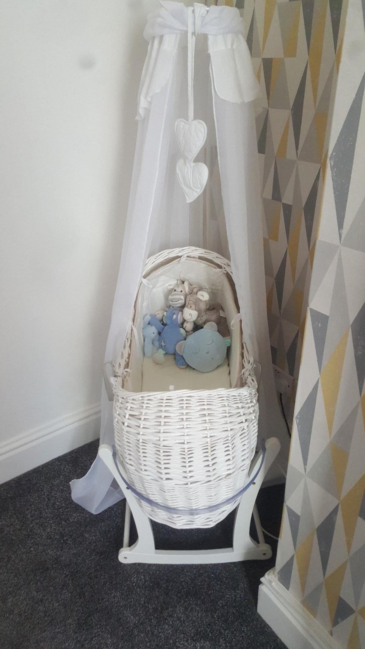 Painstaking Moses Basket In Vimini Con Stand Bassinets & Cradles Baby