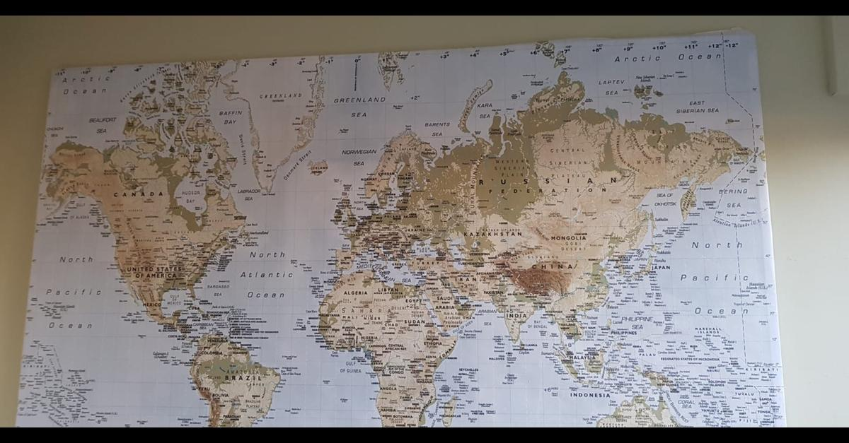 Ikea world map canvas picture