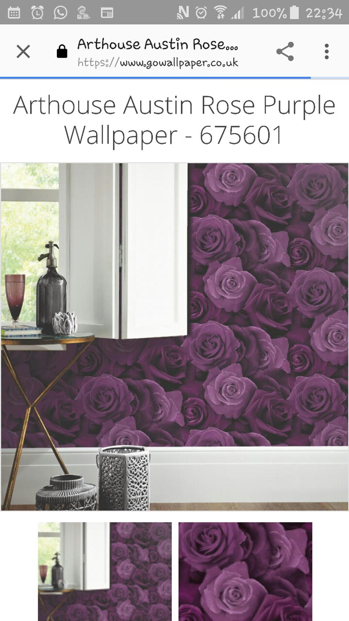 Majsterkowanie Tapety Feature Wall Large Floral Roses Arthouse Austin Rose Purple Wallpaper 675601