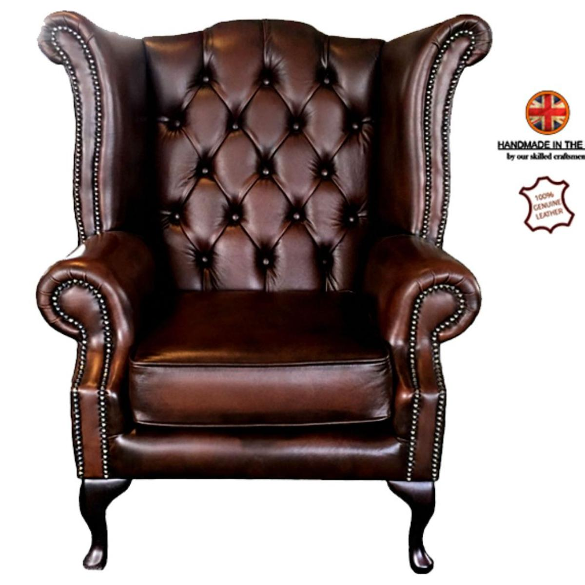 Chesterfield Queen Anne Leather Armchair