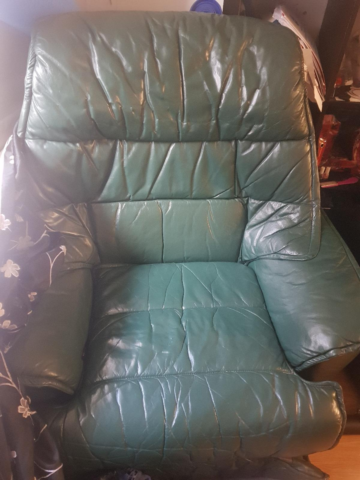 Green Leather 3 Seater Sofa And
